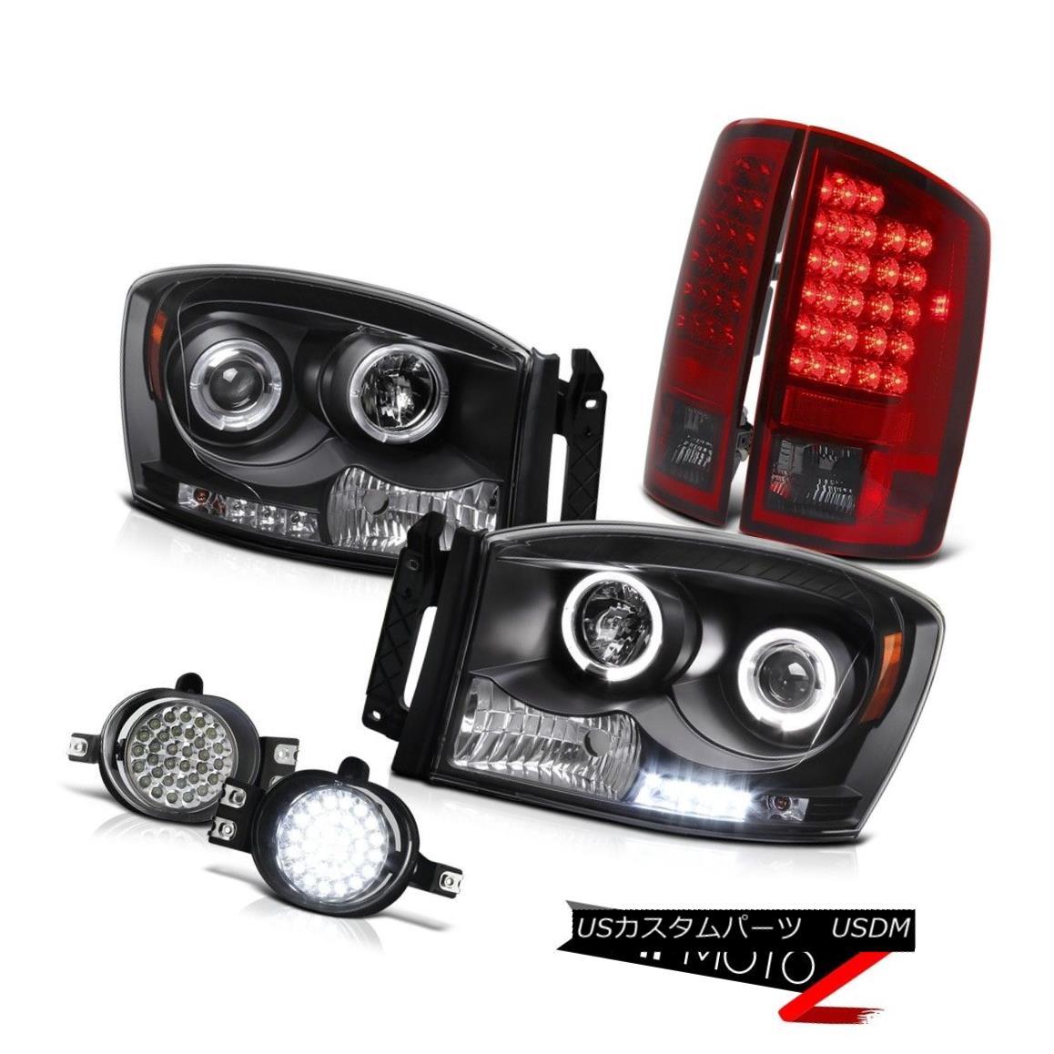 テールライト 07-08 RAM 1500/2500/3500 {BLACK} Halo Projector Headlamps+LED Taillight+Fog Lamp 07-08 RAM 1500/2500/3500 {BLACK}ヘイロープロジェクターヘッドランプ+ LEDテールライト+フォグランプ