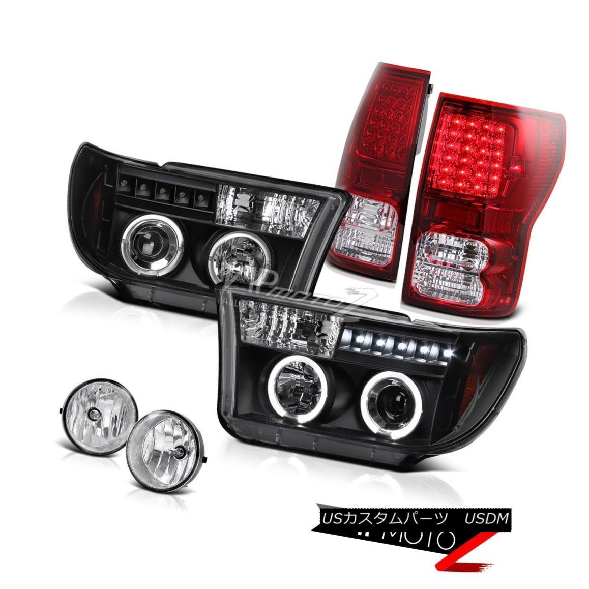 テールライト 2007-2013 TUNDRA V8 SR5 Halo Projector Headlight+Led Tail Light+Fog Lamp 2007年?2013年TUNDRA V8 SR5ハロープロジェクターヘッドライト+ Ledテールライト+フォグランプ