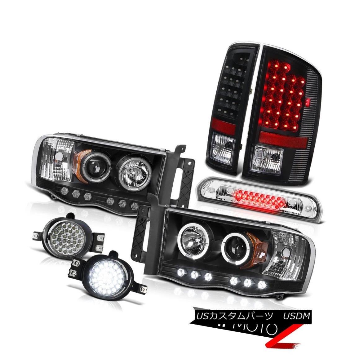 テールライト 02 03 04 05 Ram TurboDiesel Black Headlights Brake LED Taillights Bumper Fog 3rd 02 03 04 05ラムターボディーゼルブラックヘッドライトブレーキLEDテールライトバンパーフォグ3rd