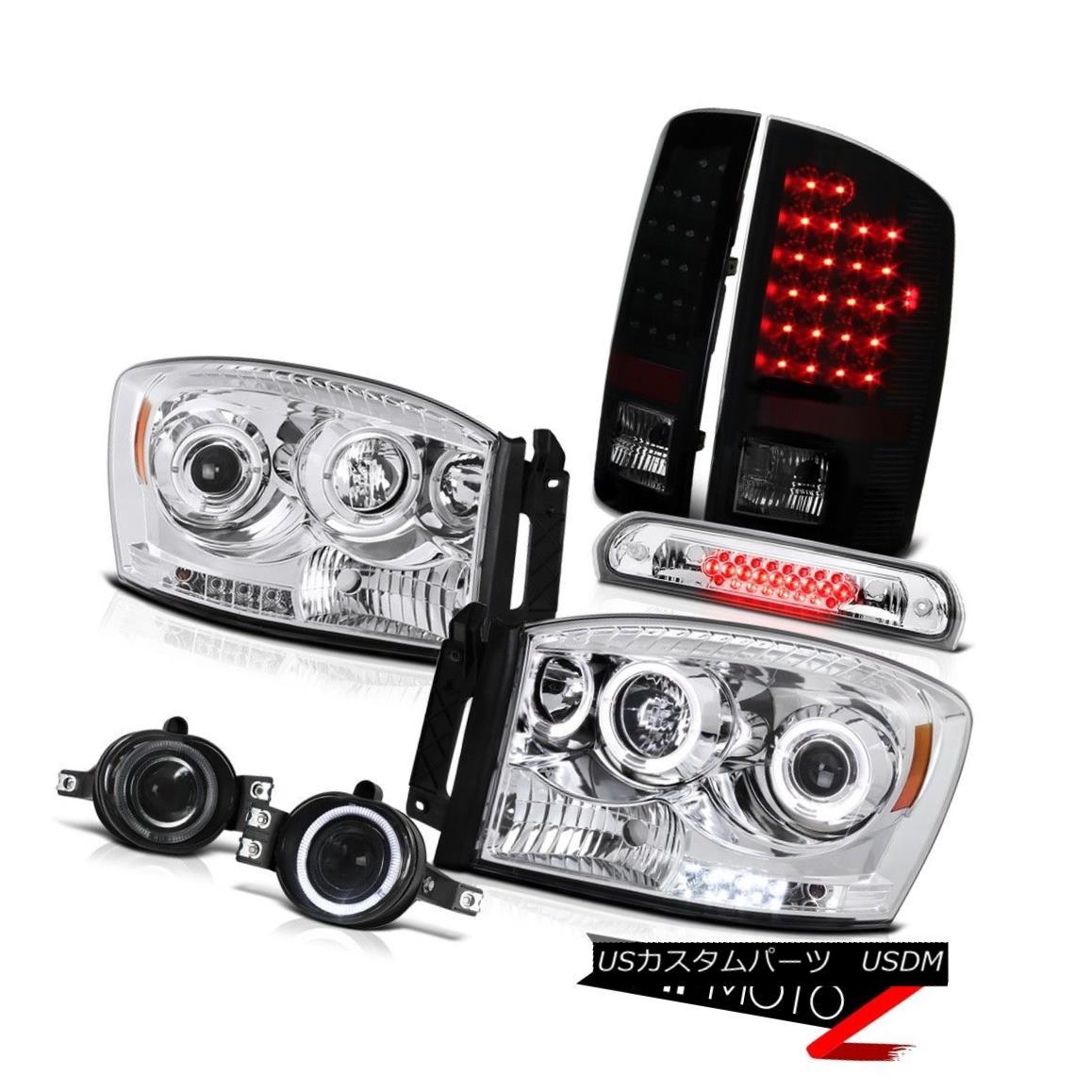 テールライト Projector Headlamps Sinister Black LED Taillights Fog 2006 Dodge Ram TurboDiesel プロジェクターヘッドライト2006年ダッジラムターボディーゼル用の不快なブラックLEDテールライト