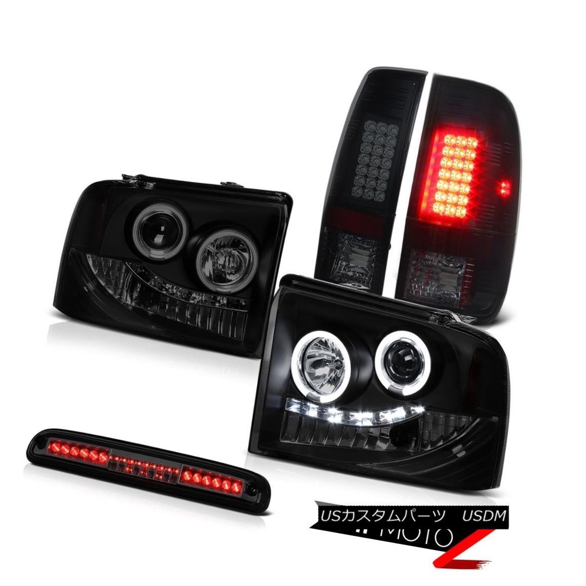 テールライト 2005-2007 F250 Highline CCFL Rim Headlights Black Smoke LED Tail Light 3rd Brake 2005-2007 F250 Highline CCFLリムヘッドライトブラックスモークLEDテールライト3rdブレーキ