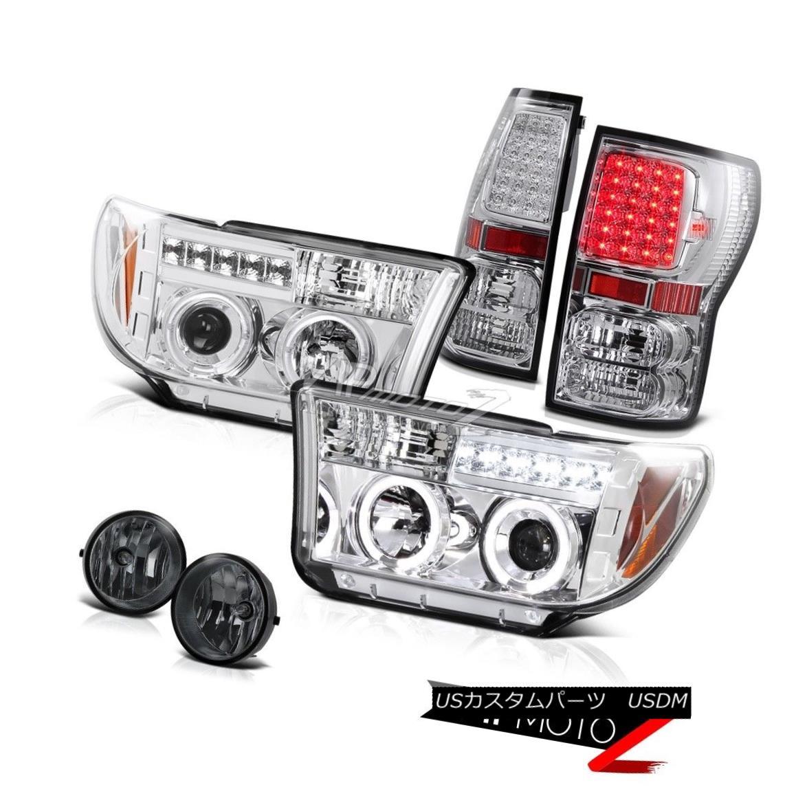 テールライト 07-2013 Toyota Tundra Chrome Projector Halo Headlamp+Led Tail Light+Fog Lamp 07-2013 Toyota Tundra ChromeプロジェクターHaloヘッドランプ+ Ledテールライト+ Fogランプ
