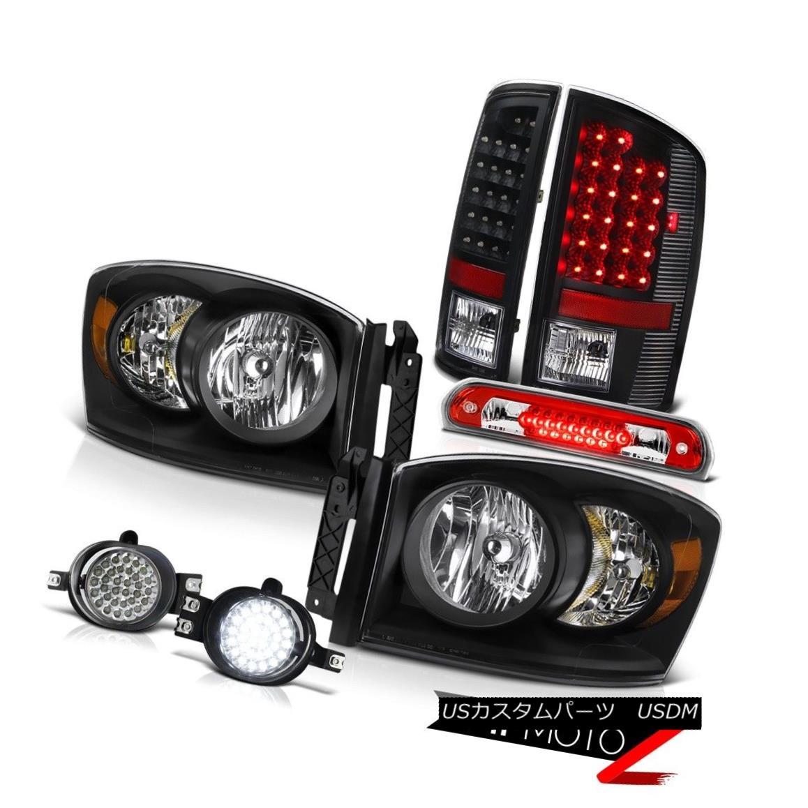 テールライト 2007-2008 Ram Headlights Black Brake LED Tail Lights Trim Foglights 3rd Red 2007-2008ラムヘッドライトブラックブレーキLEDテールライトトリムフォグライト第3赤