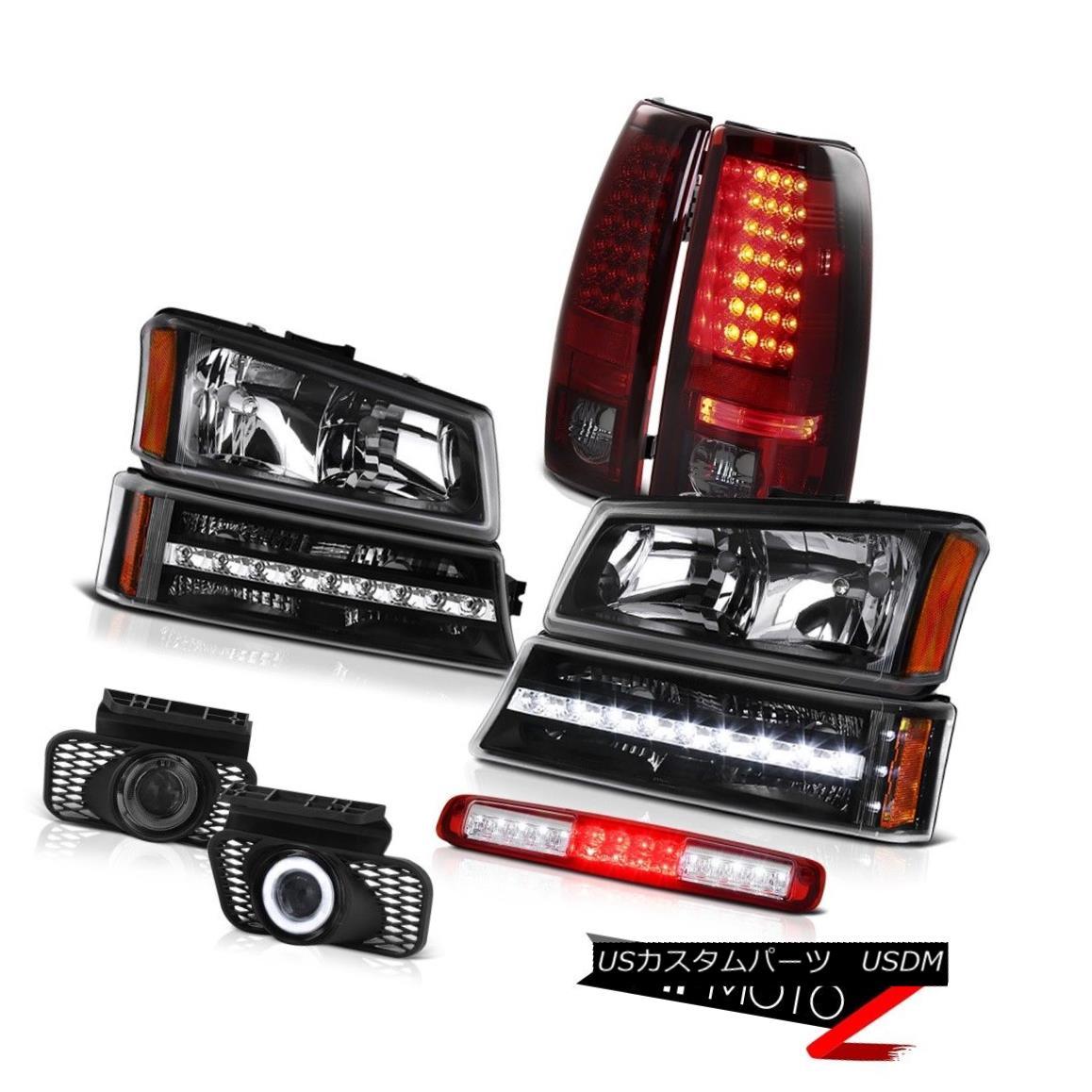 テールライト 03-06 Silverado Red High Stop Lamp Black Headlights Foglamps Parking Taillights 03-06シルバラードレッドハイストップランプブラックヘッドライトフォグランプパーキングテールライト