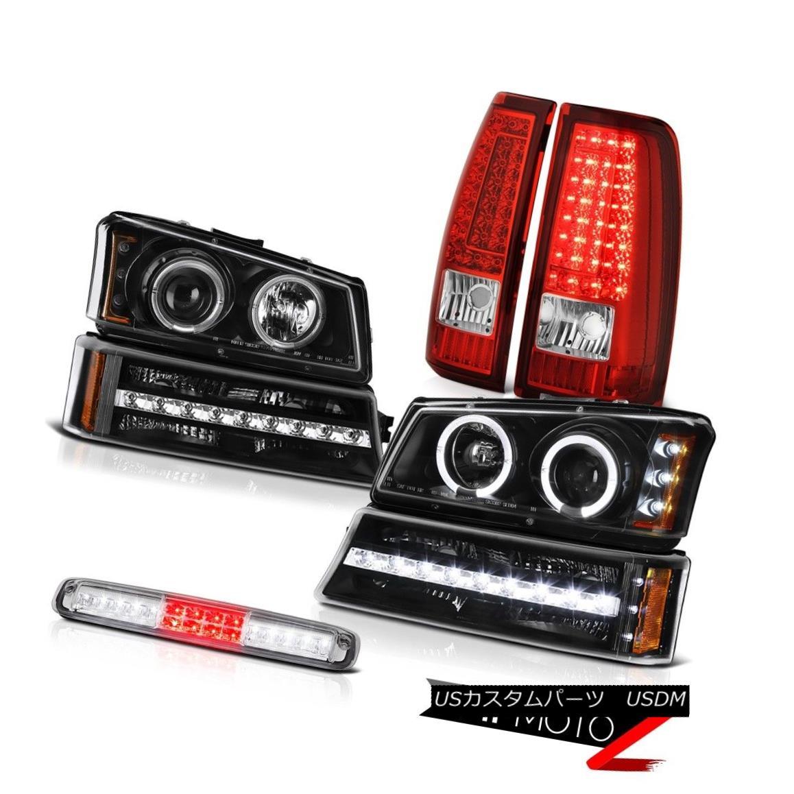 テールライト 03-06 Silverado Crystal Clear High Stop Light Taillamps Black Signal Headlamps 03-06シルバラードクリスタルクリアハイストップライトタイルランプブラックシグナルヘッドランプ