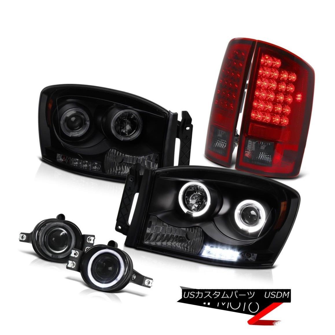 テールライト Headlight Projector Halo LED Smokey Red Tail Lights Smoke Fog Ram 4.7L SLT 07 08 ヘッドライトプロジェクターHalo LEDスモーキーレッドテールライトスモークフォグラム4.7L SLT 07 08