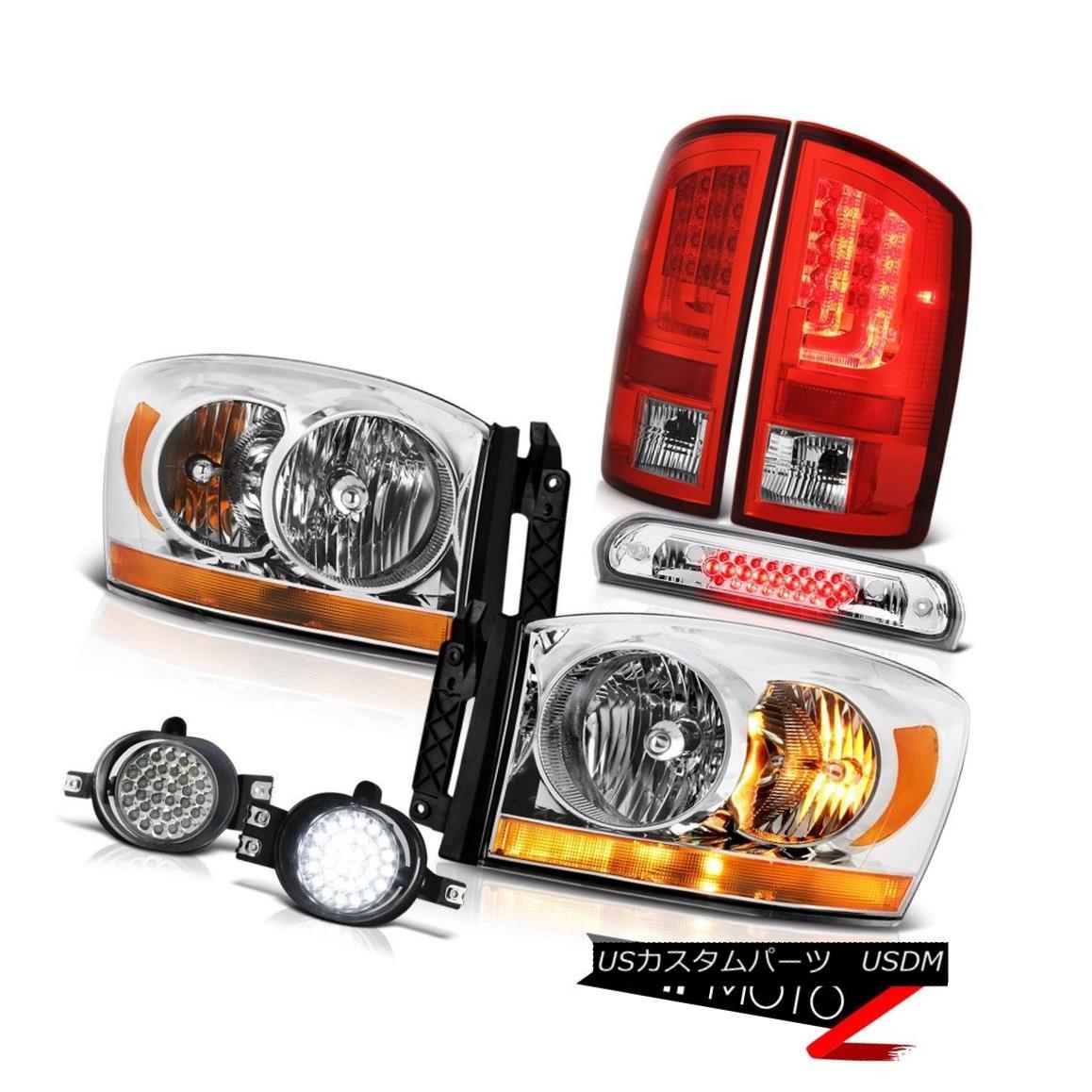 テールライト 07-08 Dodge Ram 1500 SLT Red Tail Lamps Headlamps Foglamps Roof Brake Lamp LED 07-08ダッジラム1500 SLTレッドテールランプヘッドランプフォグランプルーフブレーキランプLED