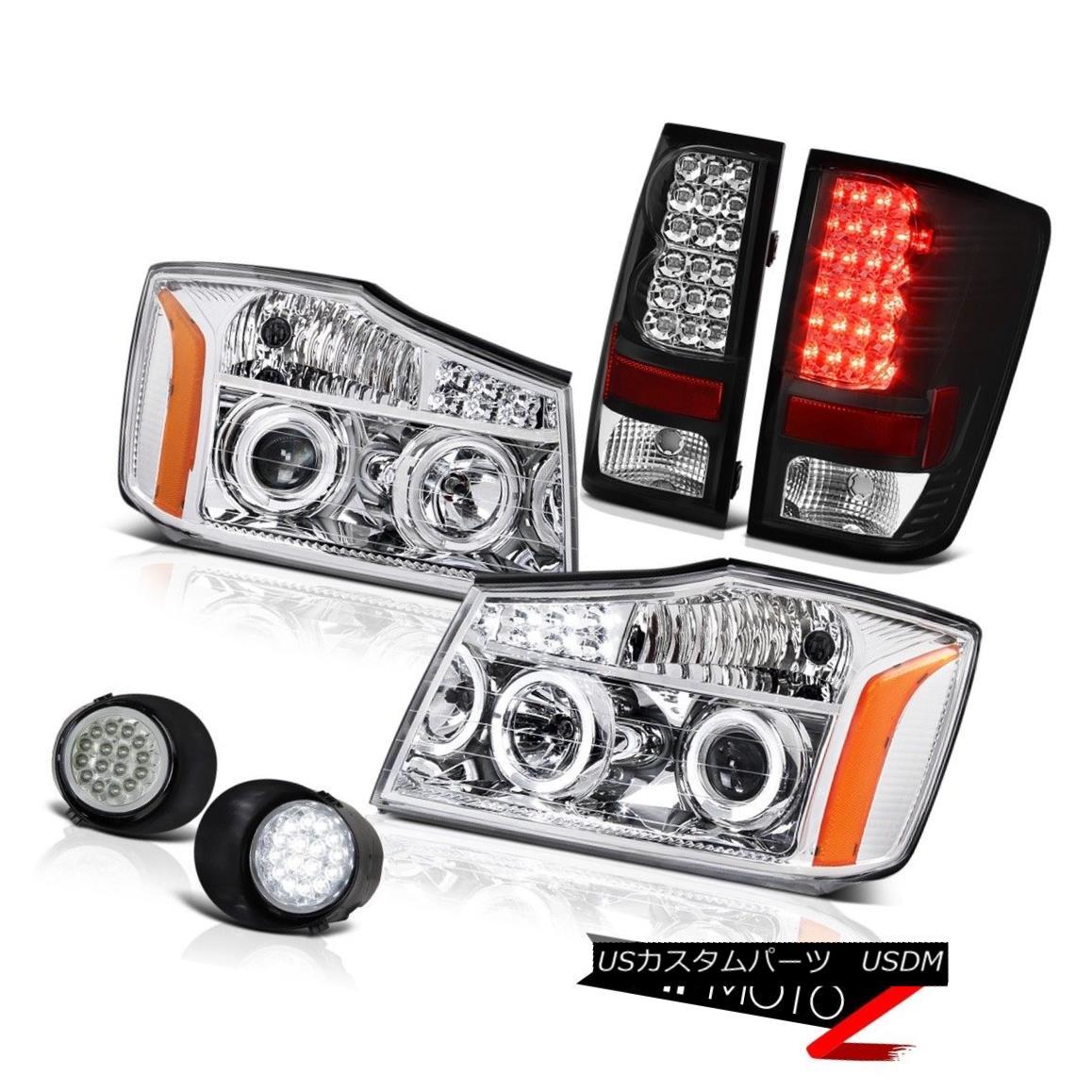 テールライト For 2004-2015 Titan Chrome LED Headlamps Assembly Black Tail Lights Trim Fog 2004年?2015年タイタンクロームLEDヘッドライトアセンブリブラックテールライトトリムフォグ