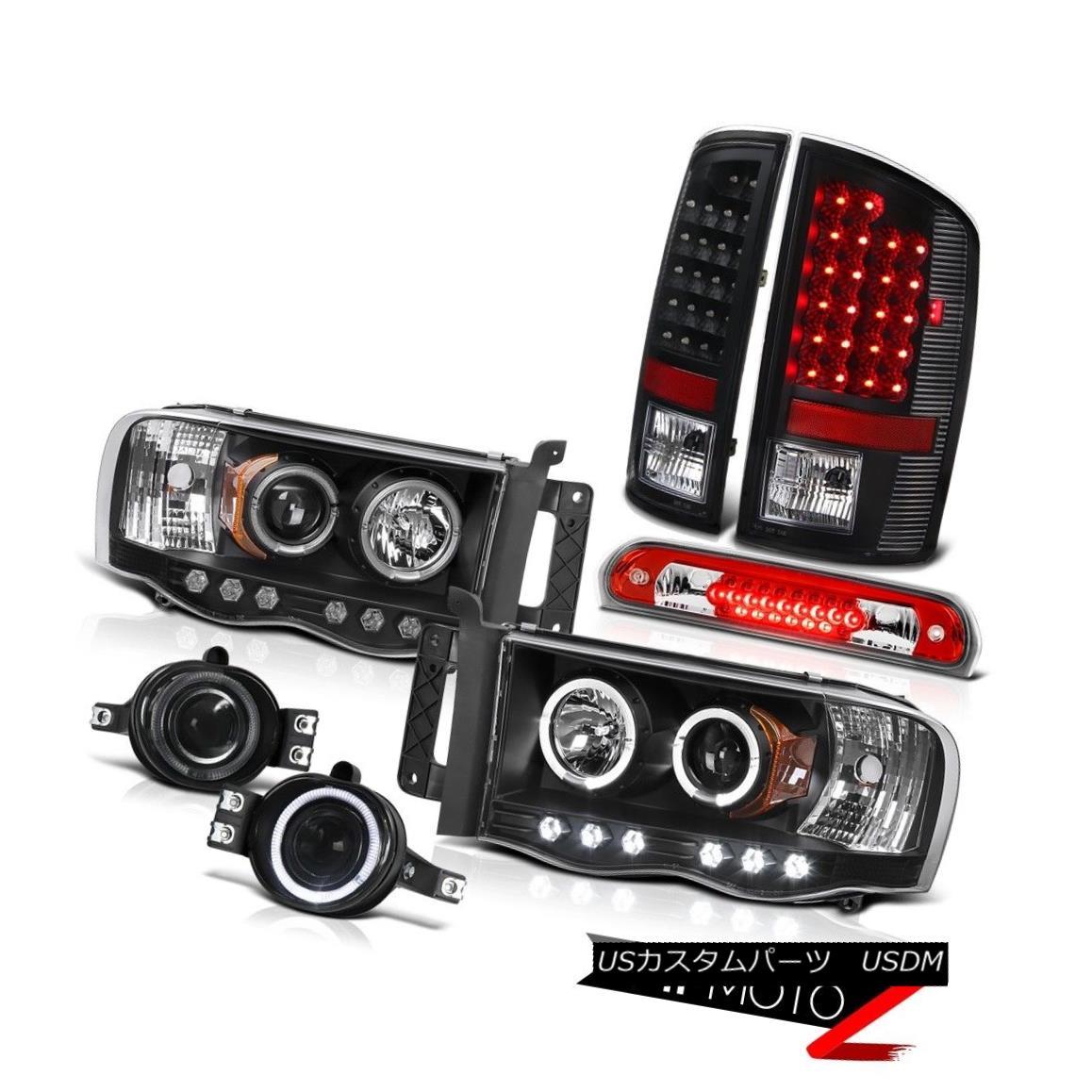 テールライト 02-05 Ram SRT-10 Black Halo Rim LED Headlights Brake Tail Lights Foglights 3rd 02-05ラムSRT-10ブラックハローリムLEDヘッドライトブレーキテールライトフォグライト3rd