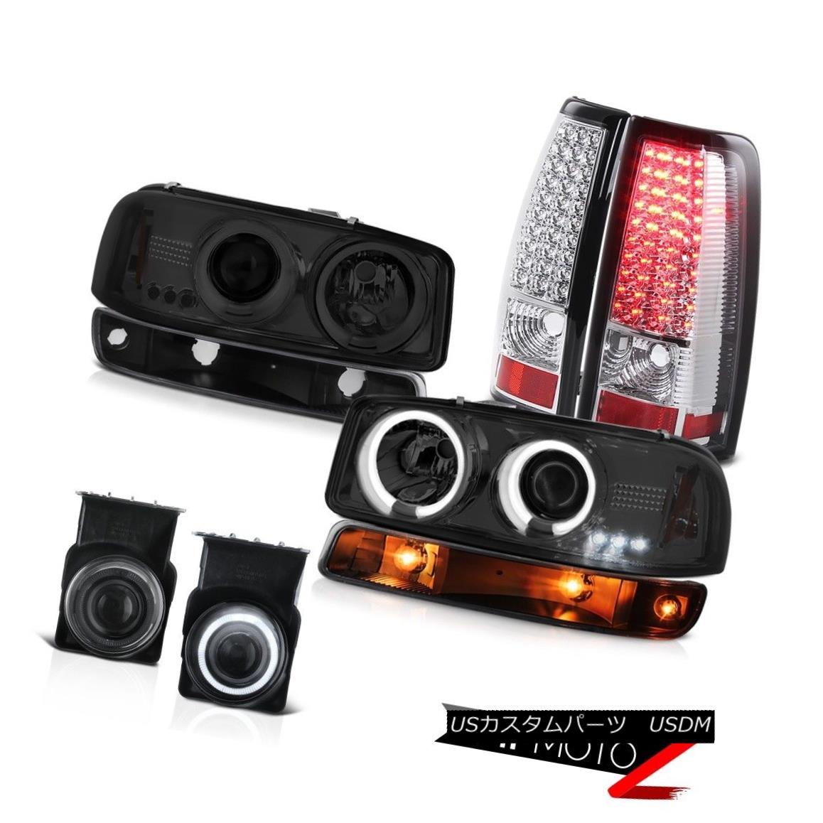 テールライト 03-06 GMC Sierra Smoked fog lamps tail lights black bumper light ccfl headlamps 03-06 GMC Sierraスモークフォグランプテールライトブラックバンパーライトccflヘッドランプ