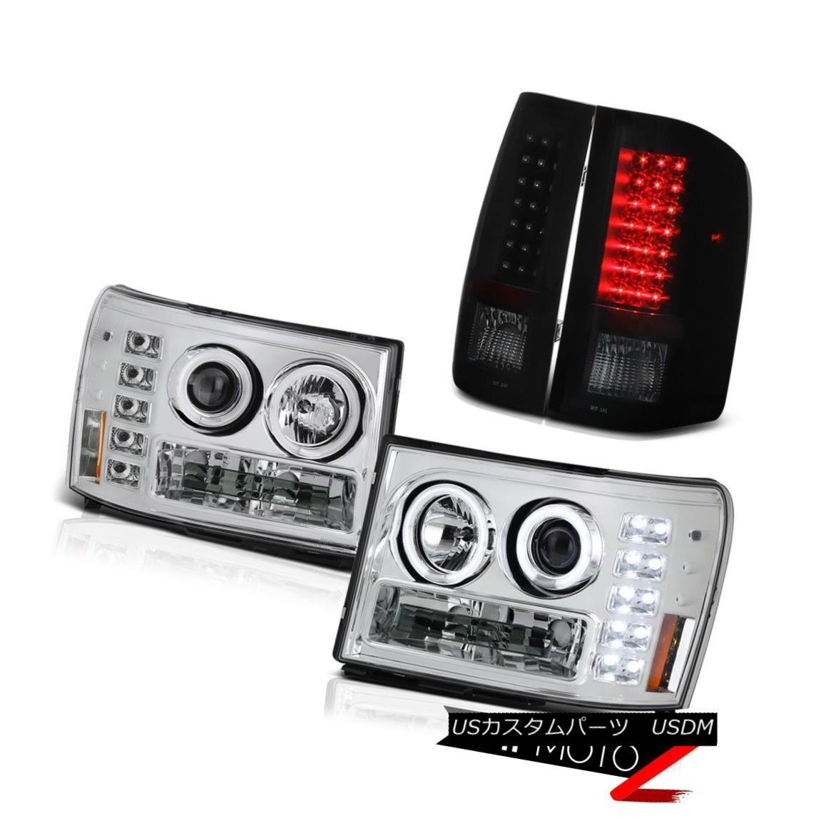 テールライト 08-14 GMC Sierra 3500 Denali Headlights CCFL RIng Sinister Black LED Tail Light 08-14 GMC Sierra 3500デナリヘッドライトCCFL RIngシニスターブラックLEDテールライト