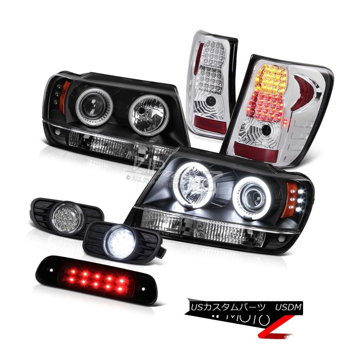 テールライト 99-03 Jeep Grand Cherokee 4WD 3RD Brake Light Fog Lamps Tail Headlights DRL Bk 99-03ジープグランドチェロキー4WD 3RDブレーキライトフォグランプテールヘッドライトDRL Bk