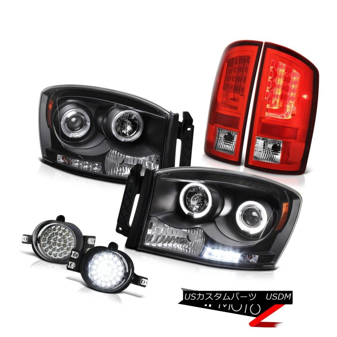 テールライト 07-08 Dodge Ram 1500 WS Tail Lamps Inky Black Headlamps CrySTal Clear Foglamps 07-08 Dodge Ram 1500 WSテールランプInky BlackヘッドランプCrySTal Clear Foglamps