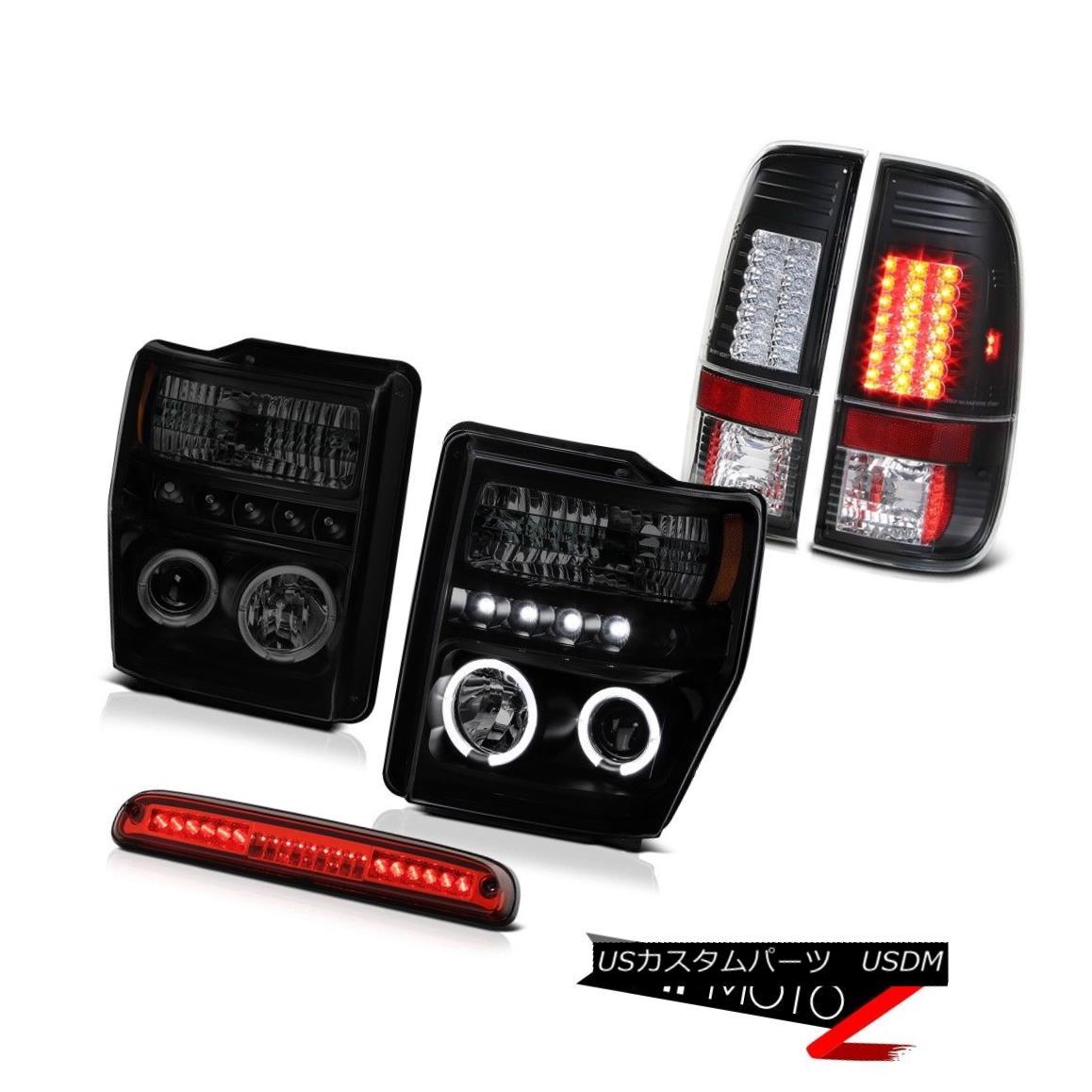 テールライト Headlights Projector Halo LED Roof Brake Red Black Taillights 08-10 Ford F250 SD ヘッドライトプロジェクターHalo LED屋根用ブレーキレッドブラックテールライト08-10 Ford F250 SD