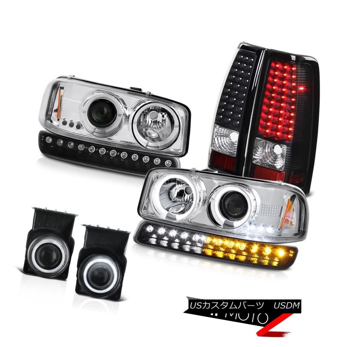 テールライト 03-06 Sierra 6.6L Chrome fog lamps led tail parking light Headlights Halo Ring 03-06シエラ6.6Lクロームフォグランプはテールパーキングライトを導いたヘッドライトハローリング