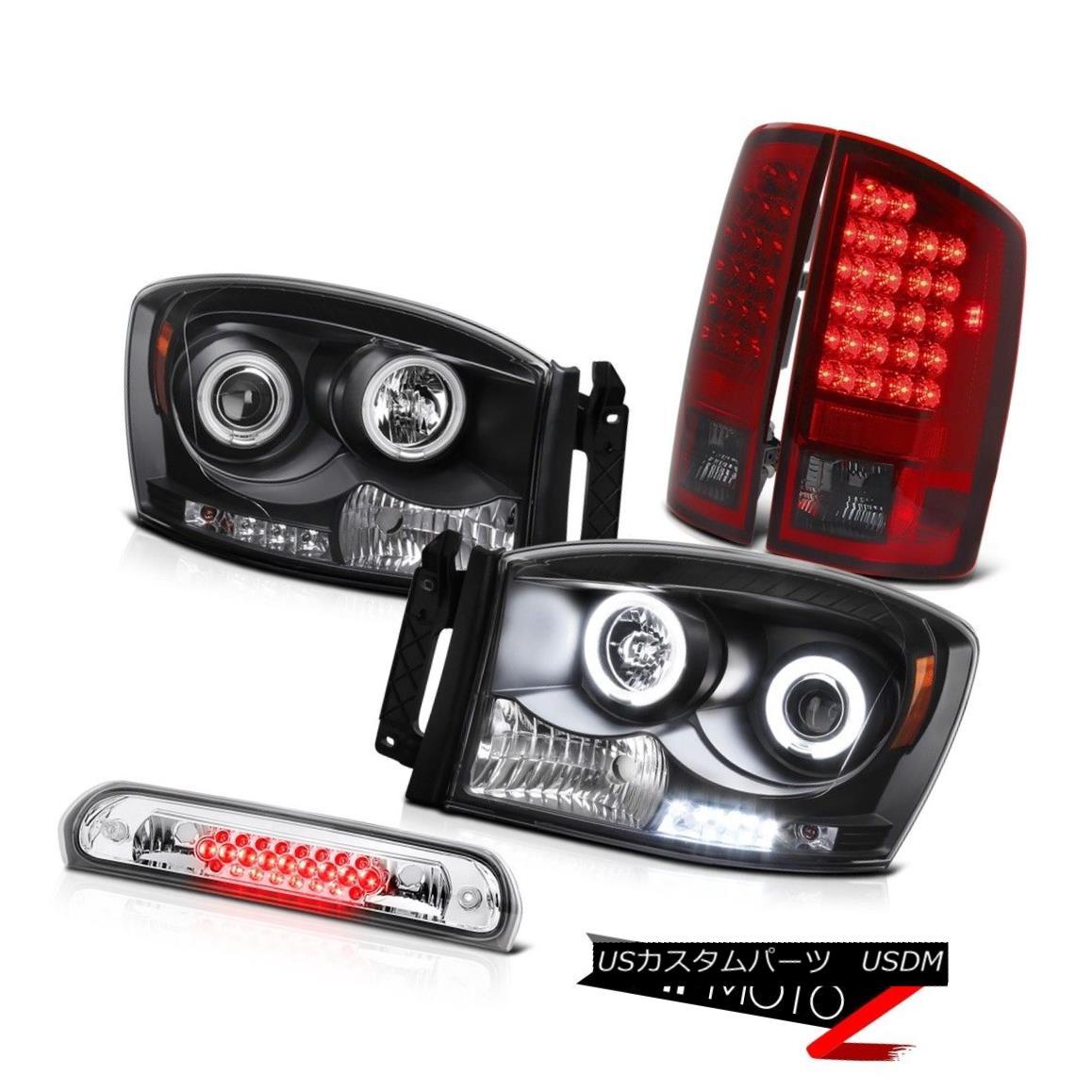 テールライト CCFL Angel Eye Headlights Dark RED LED Tail Lights 3rd 2007-2008 Dodge Ram 2500 CCFLエンジェルアイヘッドライトダークRED LEDテールライト3rd 2007-2008 Dodge Ram 2500