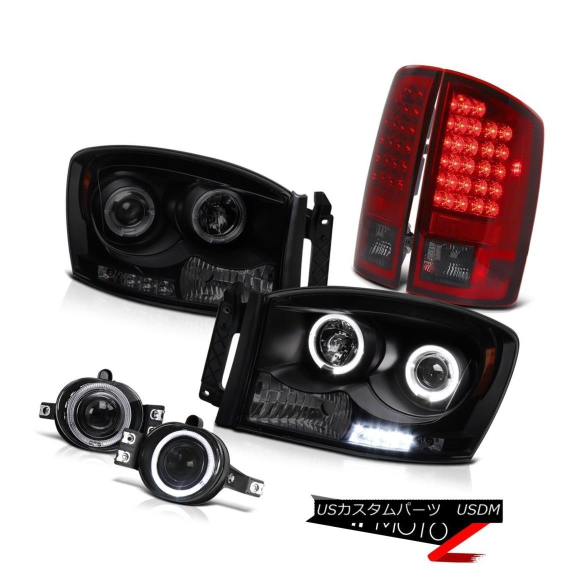 テールライト Dual Angel Eye Headlight Burgundy LED Taillight DRL foglights Ram Quad Cab 07 08 デュアルエンジェルアイヘッドライトブルゴーニュLEDテールライトDRL foglightsラムクアドキャブ07 08