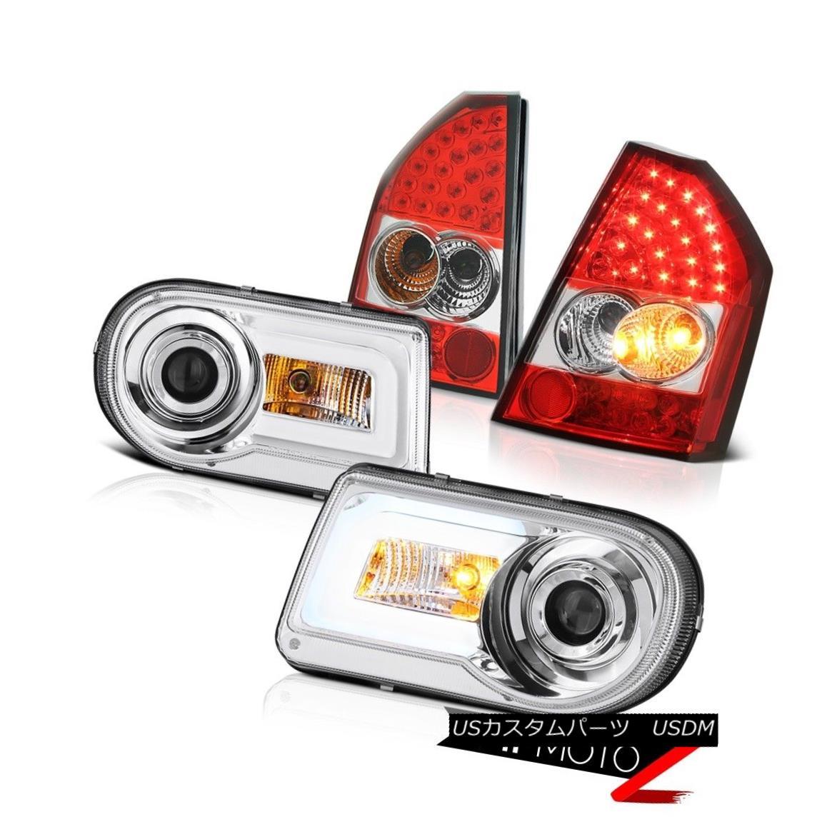 テールライト 08 09 10 Chrysler 300C Crystal Halo LED Headlights Rosso Red Brake Tail Lights 08 09 10クリスラー300CクリスタルハローLEDヘッドライトロッソレッドブレーキテールライト