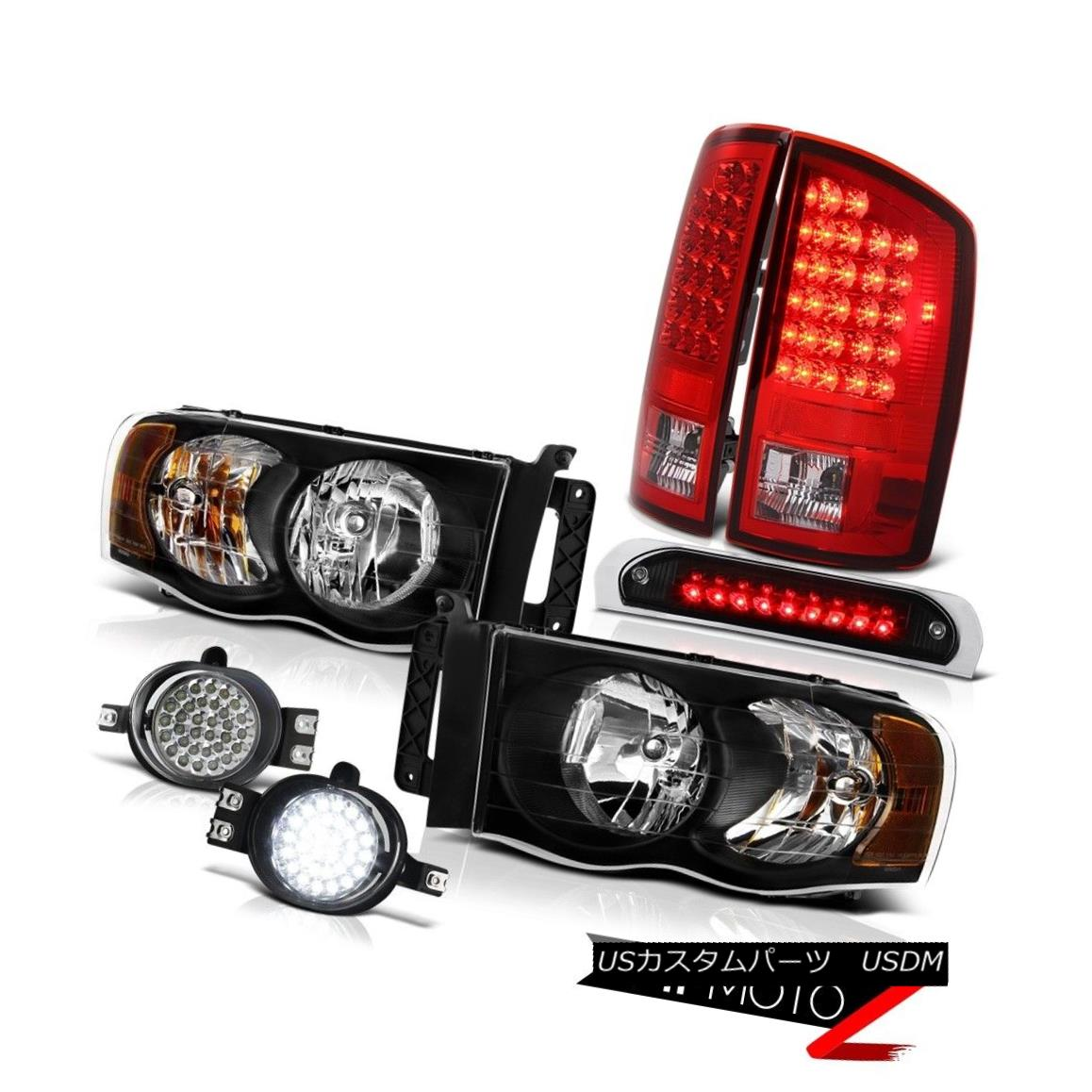 テールライト 02-05 Ram 2500 Black Headlight L.E.D Taillamps LED Driving Fog Third Brake Cargo 02-05 Ram 2500 BlackヘッドライトL.E.D Taillamps LED駆動フォグ第3ブレーキ貨物