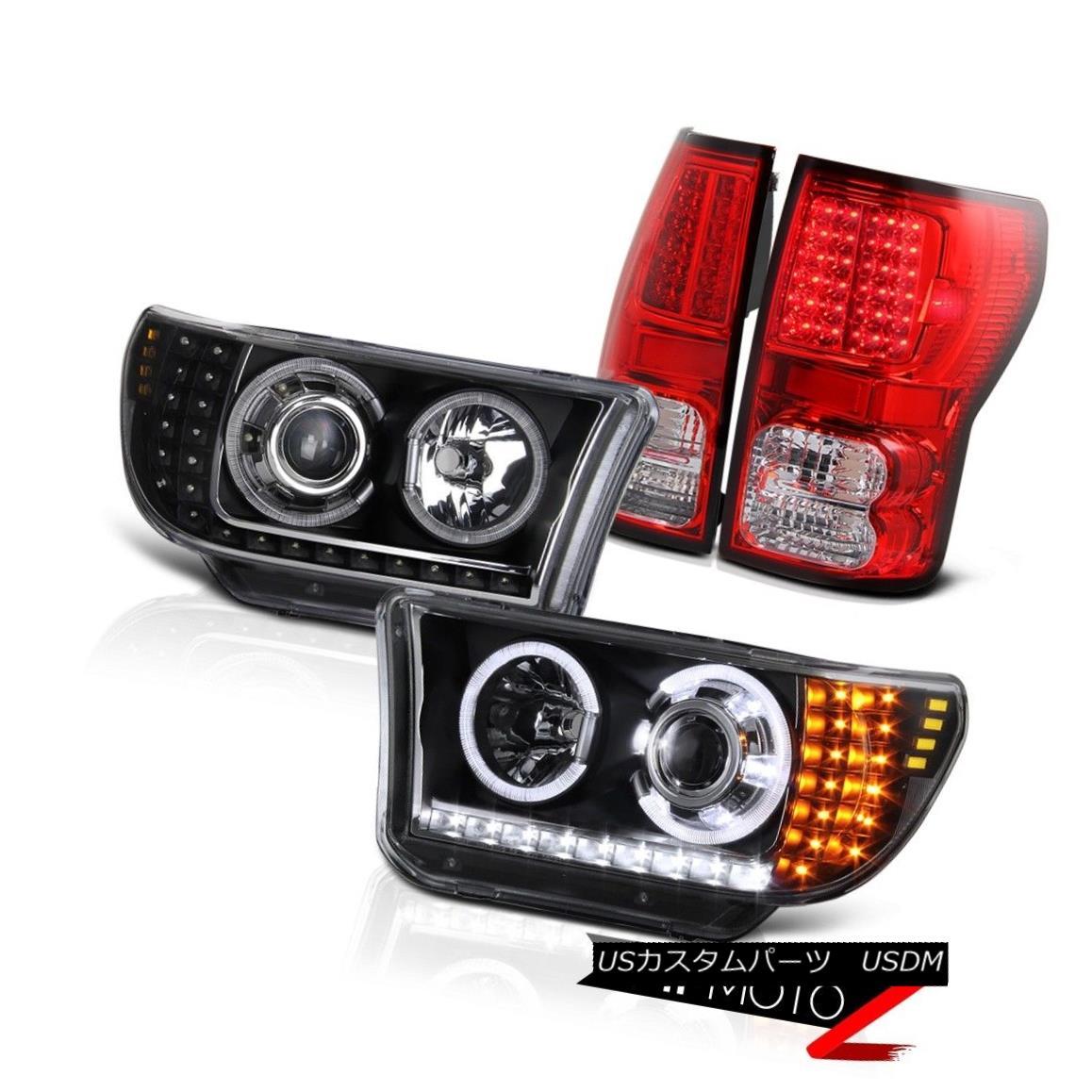 テールライト 07-2013 Tundra LED+HALO Black Projector Headlight+Smoke L+R Led Tail Light Lamp 07-2013 Tundra LED + HALOブラックプロジェクターヘッドライト+スモーク e L + Rテールライトランプ