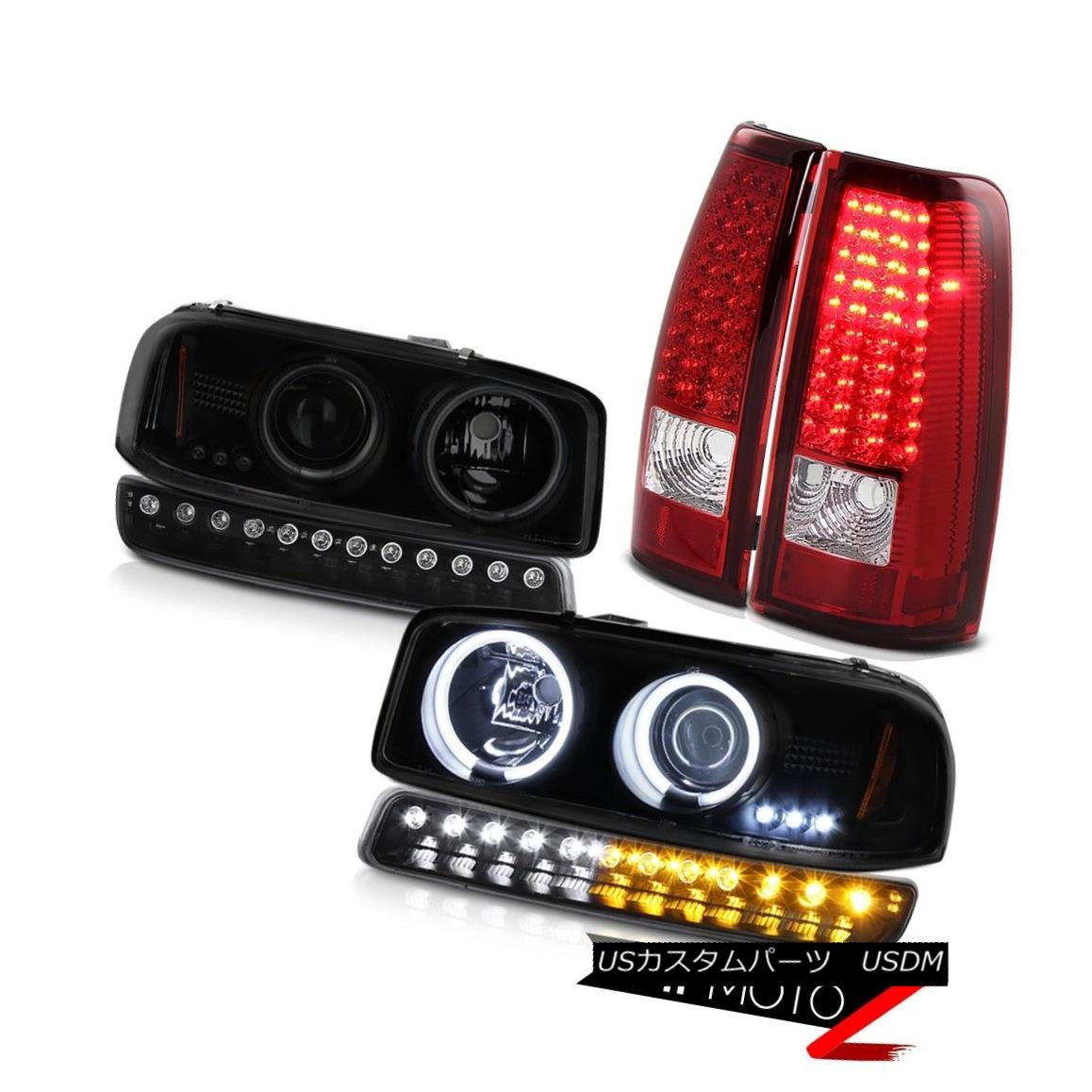 テールライト 1999-2006 Sierra 2500HD Tail brake lamps inky black turn signal ccfl headlamps 1999-2006 Sierra 2500HDテールブレーキランプインキーブラックターンシグナルccflヘッドライト