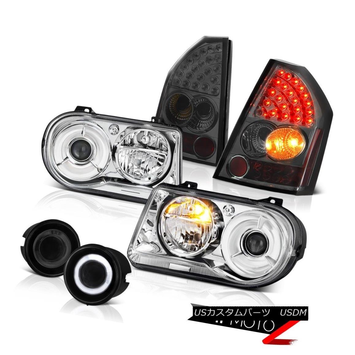 テールライト 2008-2010 Chrysler 300C 6.1L Pair Clear Headlights Dark LED Tail Lights Tint Fog 2008-2010クライスラー300C 6.1LペアクリアヘッドライトダークLEDテールライトティントフォグ