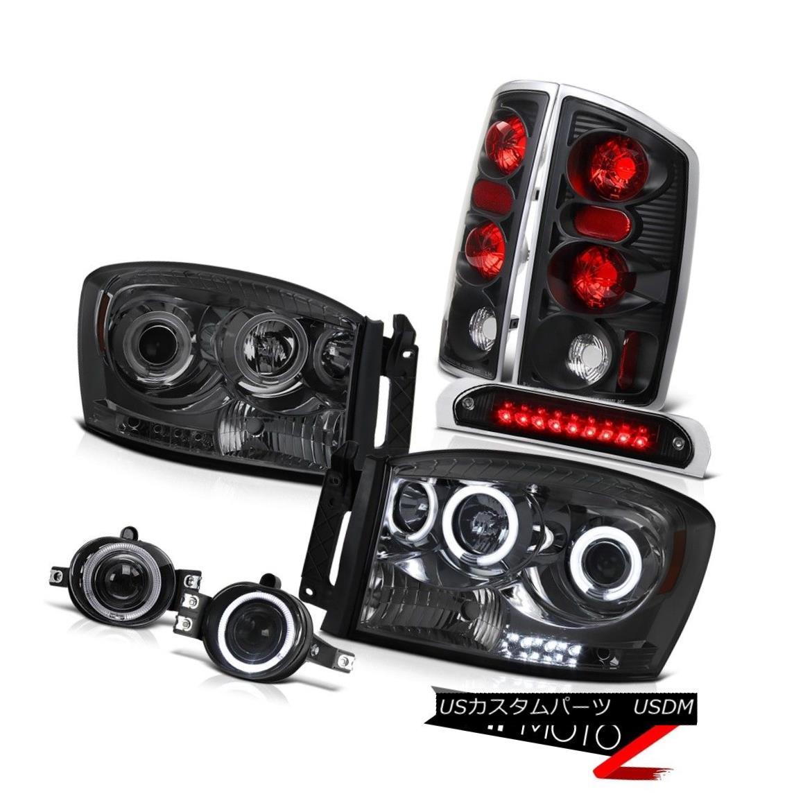 テールライト 2006 Dodge Ram CCFL Headlights Rear Black Taillamps Driving Fog High Brake LED 2006ダッジ・ラムCCFLヘッドライトリア・ブラック・タイヤランプドライビング・フォグ・ハイブレーキLED