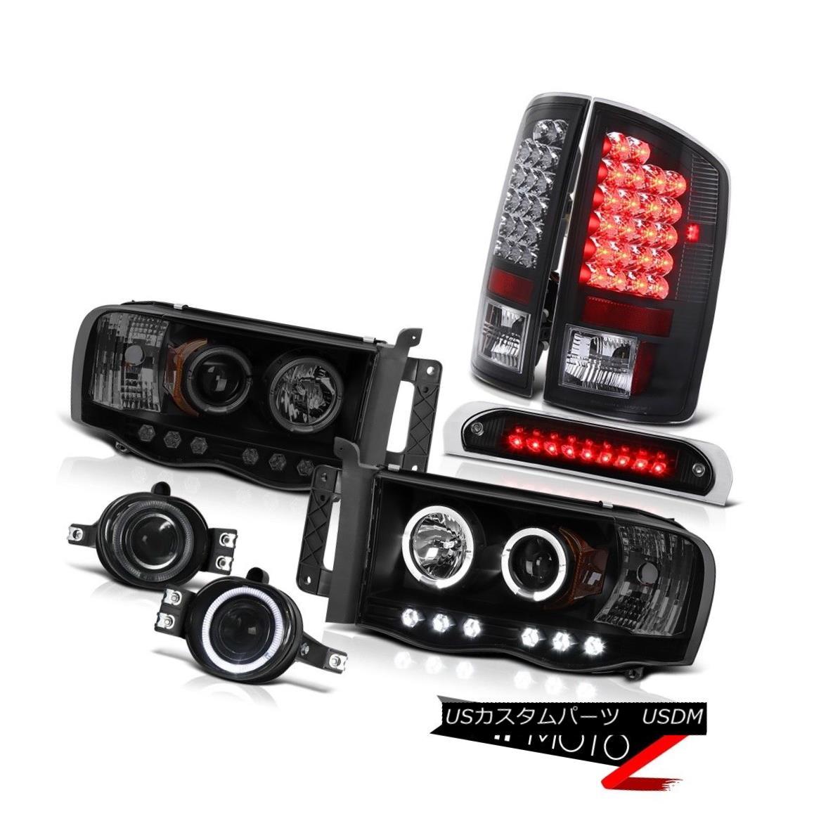 テールライト Smoke Halo Headlights LED Bulbs Taillamps Driving Fog Black 3RD 2002-2005 Ram WS スモークハローヘッドライトLED電球タイルランプDriving Fog Black 3RD 2002-2005 Ram WS