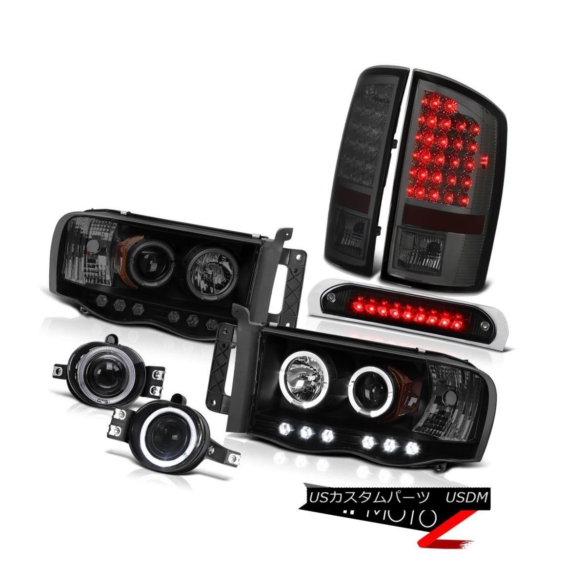 テールライト 02-05 Ram 1500 Halo Ring LED Headlight Tail Lights Tinted Bumper Fog Brake Cargo 02-05ラム1500ハローリングLEDヘッドライトテールライトトーンバンパーフォグブレーキカーゴ