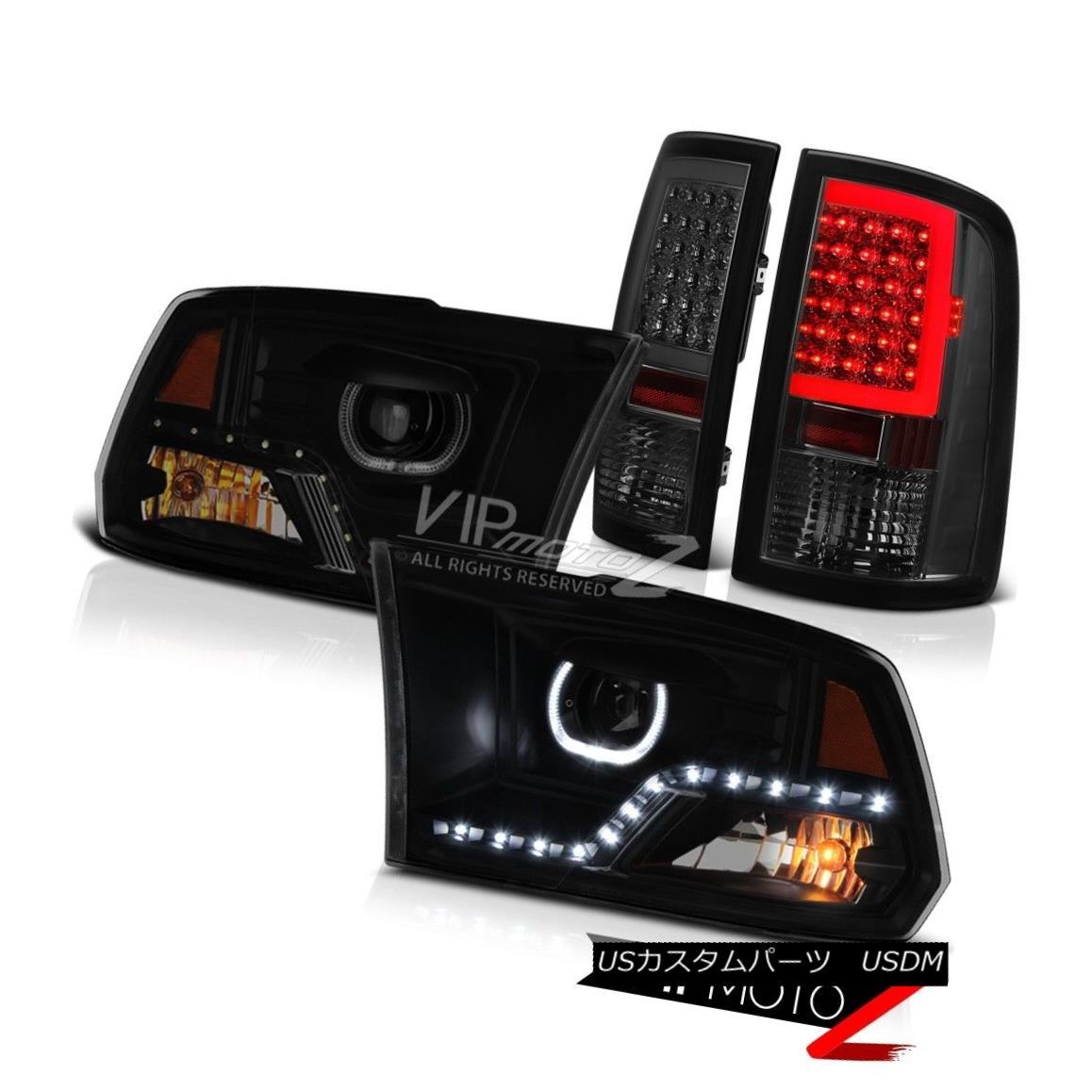 テールライト 2009-2018 Dodge RAM 1500 3500 Smoked Tail Lamp Darkest Smoke Projector Head SET 2009-2018ダッジRAM 1500 3500スモークテールランプダークスモークプロジェクターヘッドセット