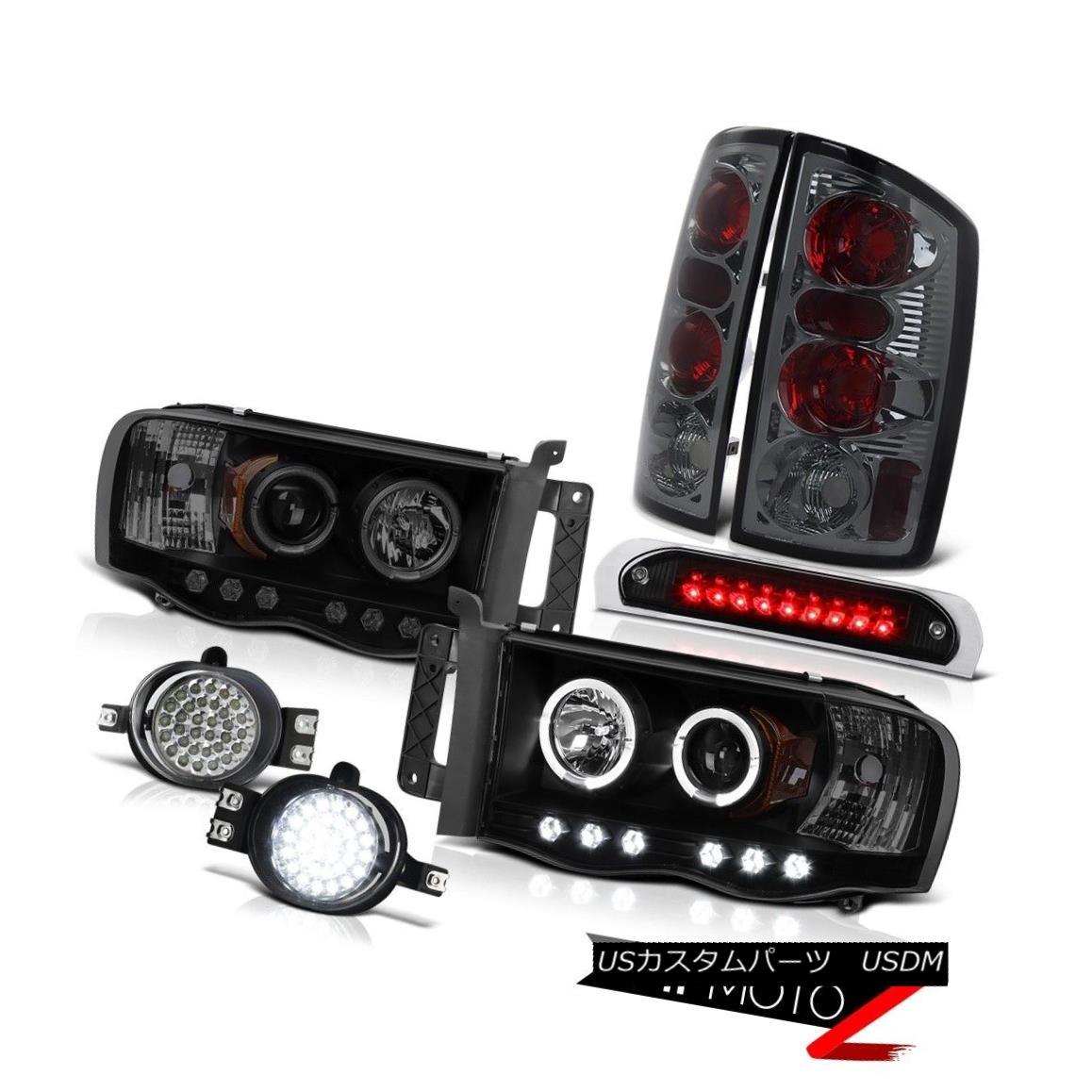 テールライト 02-05 Ram 1500 Black Smoke Halo Headlights Tail Light SMD Foglight 3rd Brake LED 02-05 Ram 1500 Black Smoke HaloヘッドライトテールライトSMD Foglight 3rdブレーキLED