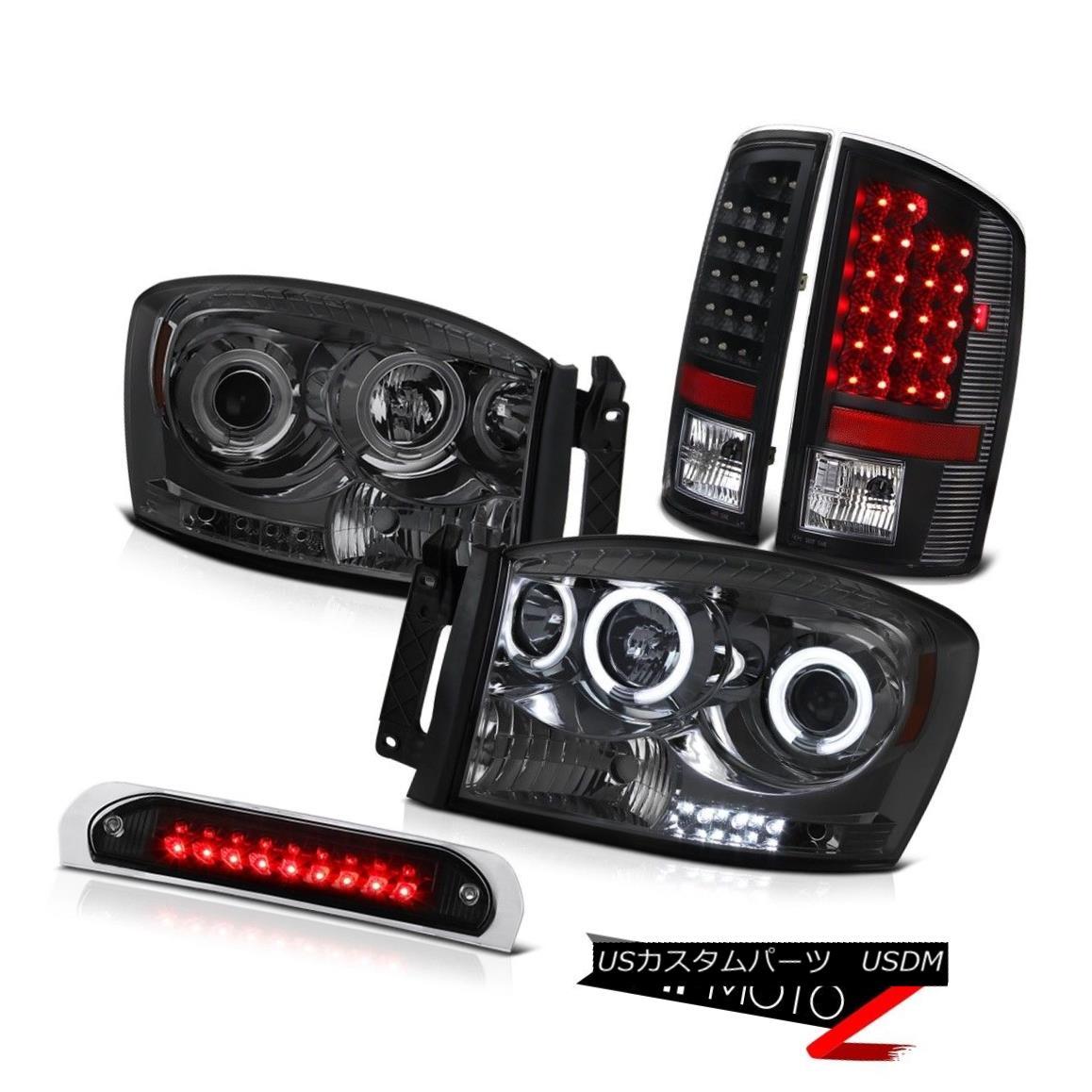 テールライト CCFL Angel Eye Headlight Black LED Tail Light 3rd Brake 2007-2008 Dodge Ram 3500 CCFLエンジェルアイヘッドライトブラックLEDテールライト3rdブレーキ2007-2008 Dodge Ram 3500
