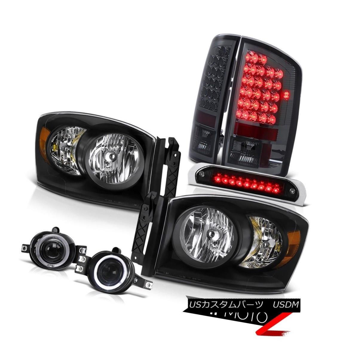 テールライト Left Right Headlamps Smoked LED Taillamps Projector Foglights Brake 06 Dodge Ram 左のライトヘッドランプスモークLEDテールランププロジェクターフォグライトブレーキ06 Dodge Ram