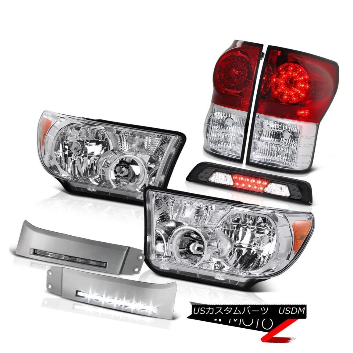 テールライト 07-13 Toyota Tundra SR5 Headlamps DRL Strip High Stop Light Wine Red Tail Lamps 07-13トヨタトンドラSR5ヘッドライトDRLストリップハイストップライトワインレッドテールランプ