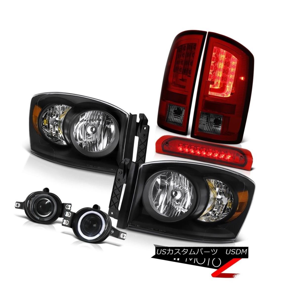テールライト 07-08 Dodge Ram 1500 5.7L Taillamps Headlamps Foglights Rosso Red 3RD Brake Lamp 07-08ダッジラム1500 5.7Lタイルランプヘッドランプフォギーライトロッソレッド3RDブレーキランプ