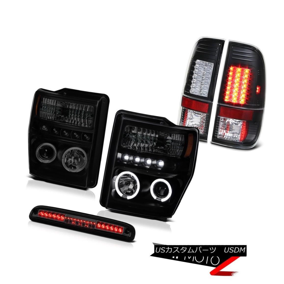 テールライト Halo Headlights Smoke LED Black Taillamps Roof Stop Tinted 08-10 F350 King Ranch ヘイローヘッドライトスモークLEDブラックタイルランプ屋根ストーンテント08-10 F350キングランチ