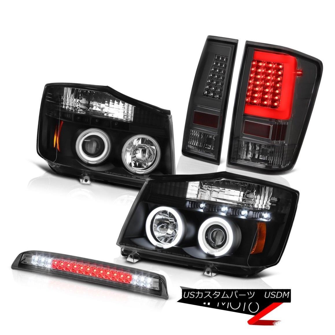 テールライト 04-14 For Nissan Titan 3Rd Brake Rear Nighthawk Black Projector Head Lamps Set 04-14日産タイタン用3Rdブレーキリアナイトホークブラックプロジェクターヘッドランプセット