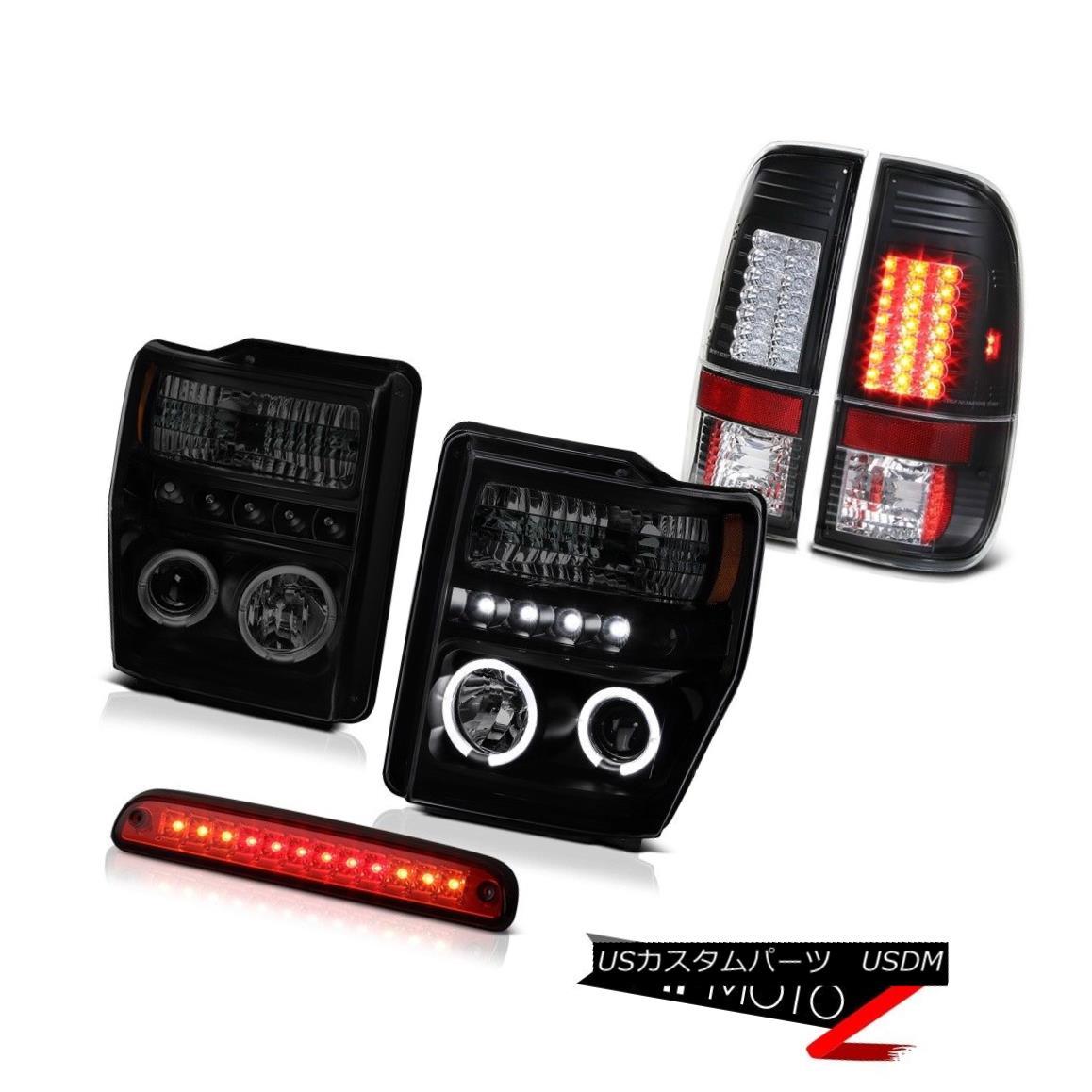 テールライト Sinister Black LED Halo Headlight Roof Brake Cargo Lamp 2008 2009 2010 F250 6.3L シニスターブラックLEDハローヘッドライトルーフブレーキカーゴランプ2008 2009 2010 F250 6.3L