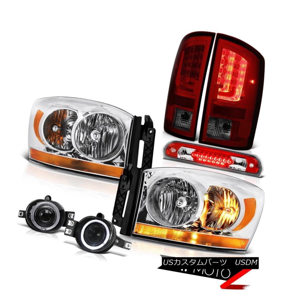 テールライト 07-08 Dodge Ram 1500 SLT Rear Brake Lamps Headlamps Foglamps Red 3RD Lamp LED 07-08ダッジラム1500 SLTリアブレーキランプヘッドランプフォグランプ赤3RDランプLED