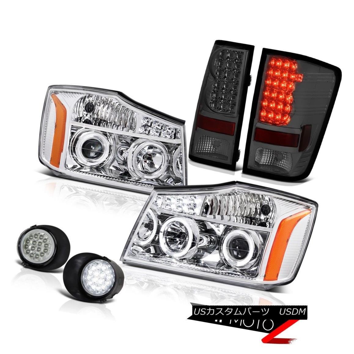テールライト For 2004-2015 Titan SE Chrome LED Headlamp Assembly Smoke Tail Light DRL Fog Kit 2004年?2015年タイタンSEクロームLEDヘッドランプアセンブリ煙テールライトDRLフォグキット