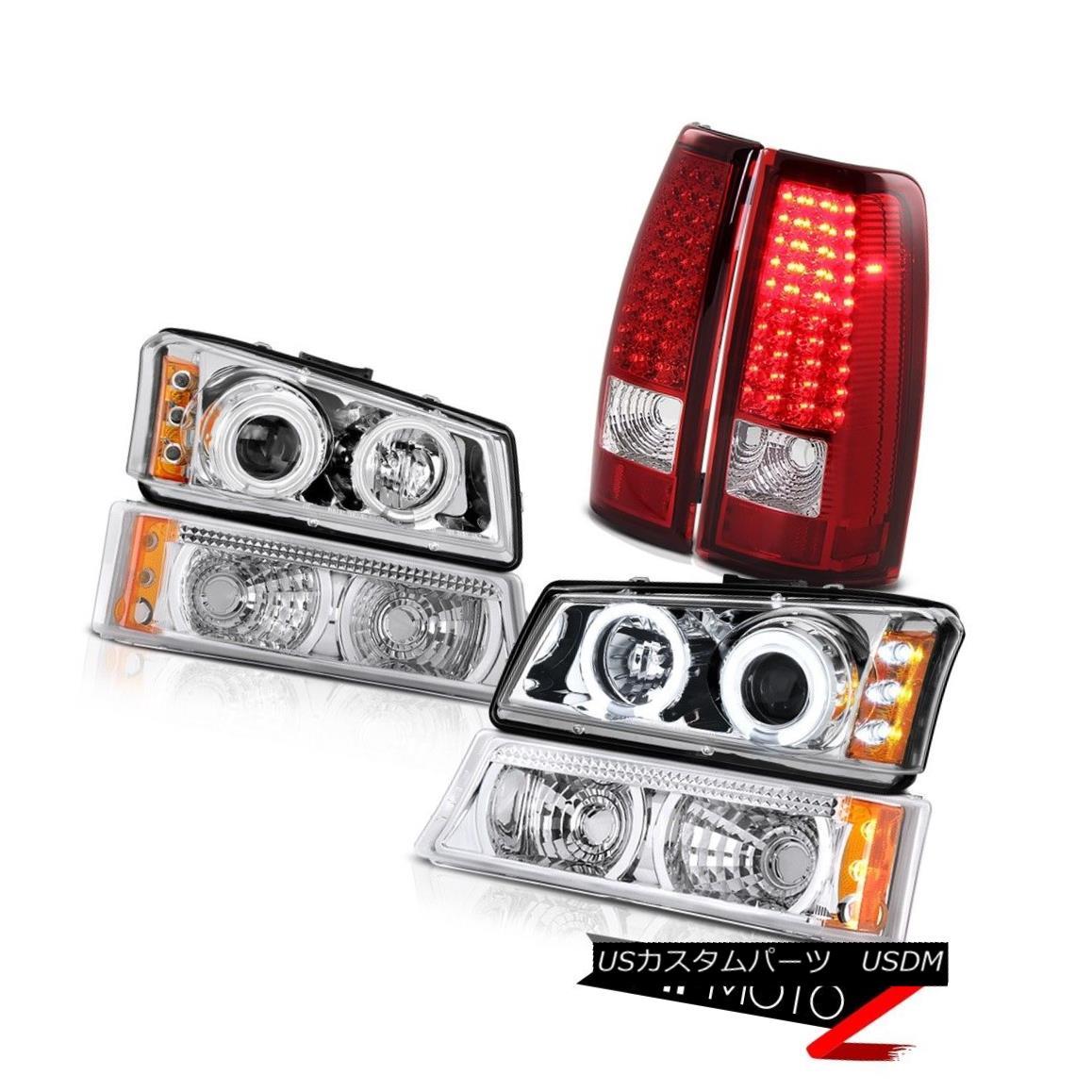 テールライト Halo Angel Eye Headlight Chrome Bumper Signal Tail Light 2003-2006 Silverado LTZ ハローエンジェルアイヘッドライトクロムバンパー信号テールライト2003-2006 Silverado LTZ