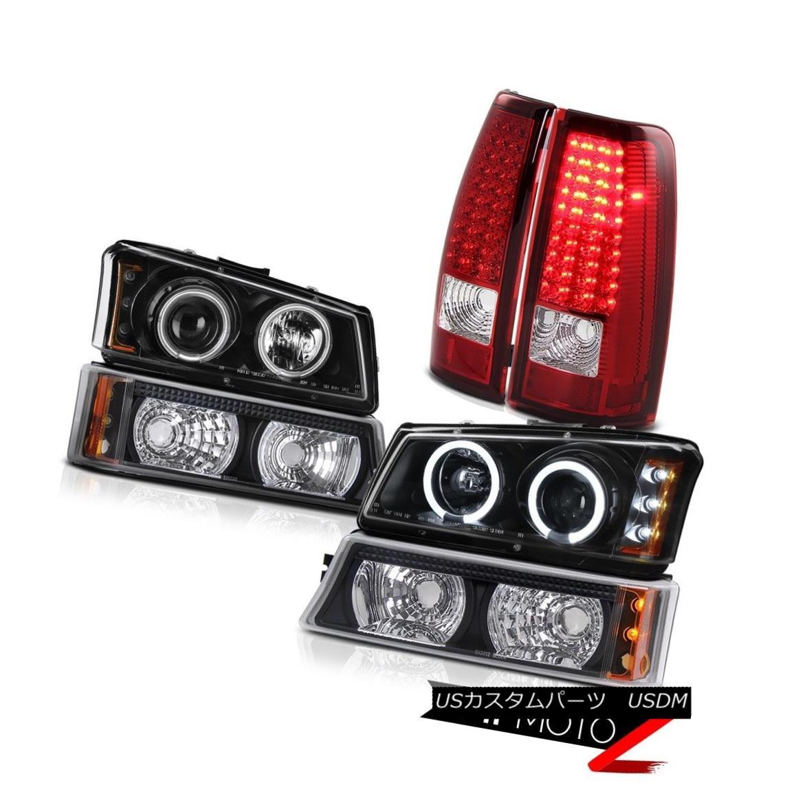 テールライト 2X Black CCFL Projector Headlight Bright LED Tail Light 2003-2006 Silverado 5.3L 2X黒CCFLプロジェクターヘッドライト明るいLEDテールライト2003-2006シルバラード5.3L