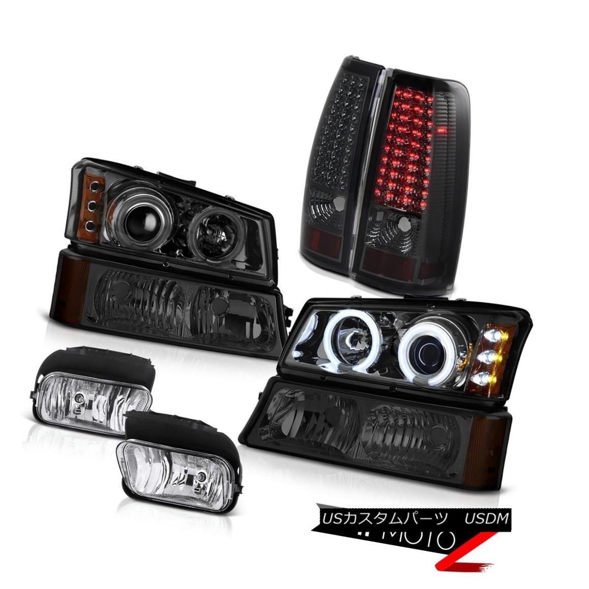 テールライト 03 04 05 06 Silverado 2x CCFL Angel Eye Headlight LED Taillamps Driving Foglight 03 04 05 06 Silverado 2x CCFLエンジェルアイヘッドライトLEDタイルランプFoglightの駆動