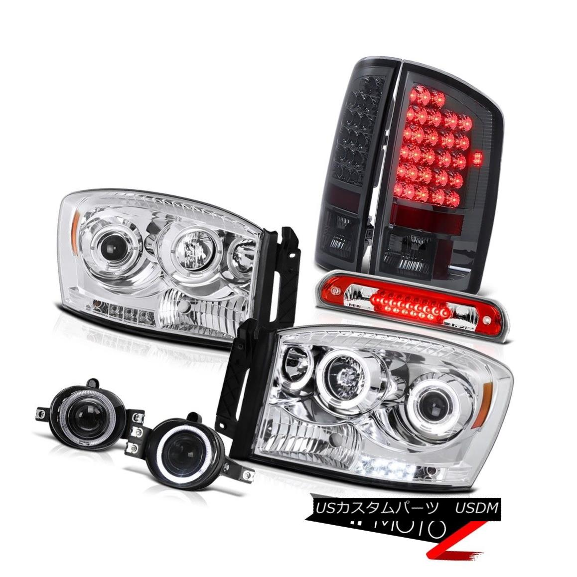 テールライト Clear Halo LED Headlights Smoked Taillamps Fog Roof 3rd 2006 Dodge Ram PowerTech クリアHalo LEDヘッドライトスモークタイルランプFog Roof 3rd 2006 Dodge Ram PowerTech