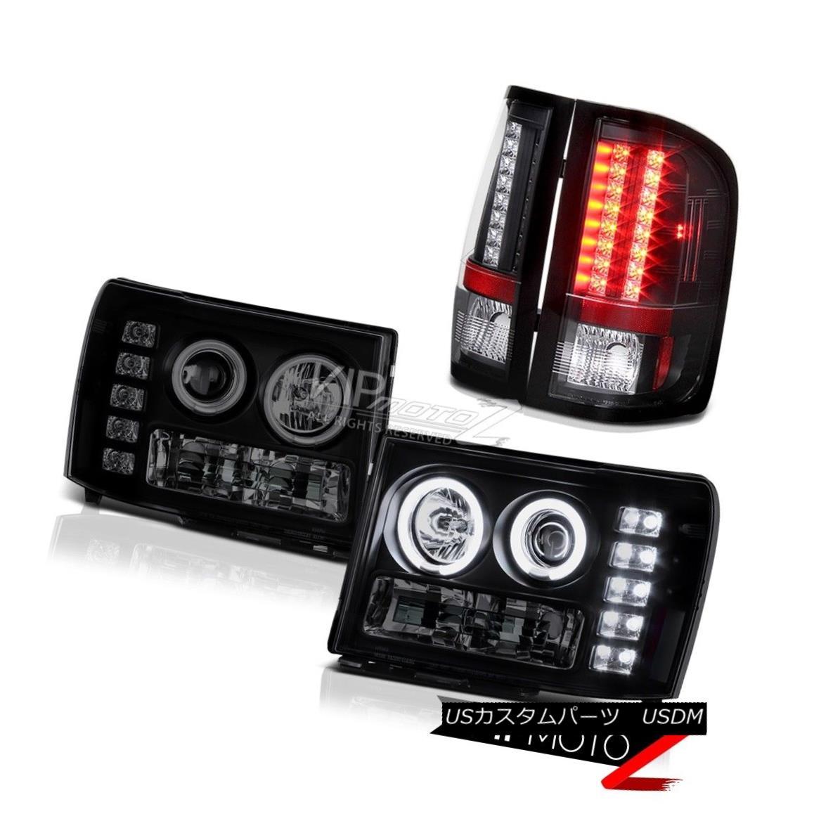 テールライト GMC Sierra Dually SLT 08-14 CCFL Tech Halo Rim Headlights Black LED Tail Lights GMC Sierra Dually SLT 08-14 CCFL Tech Halo RimヘッドライトブラックLEDテールライト