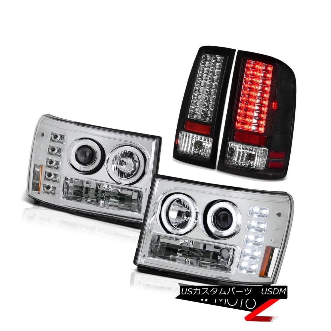 テールライト CCFL Chrome Halo Ring Headlights L.E.D Rear Tail Lights 07-13 Sierra Duramax SLE CCFLクロームハローリングヘッドライトL.E.Dリアテールライト07-13 Sierra Duramax SLE