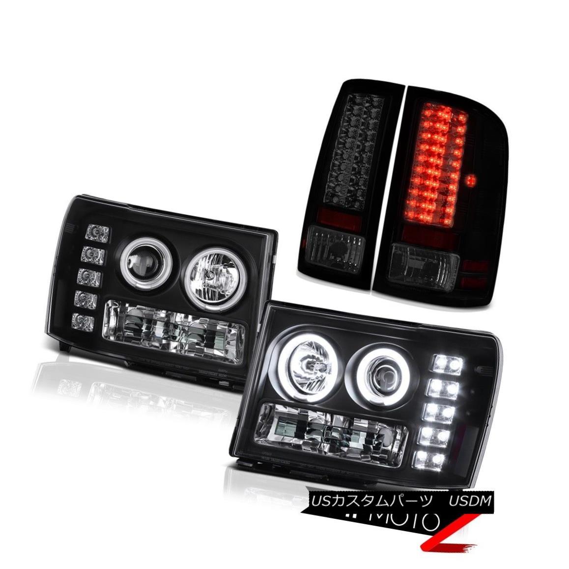 テールライト Black CCFL Angel Eye Headlight Bright LED Taillamp 2013 2014 GMC Sierra 6.6L SLT 黒のCCFLエンジェルアイヘッドライト明るいLED Taillamp 2013 2014 GMC Sierra 6.6L SLT