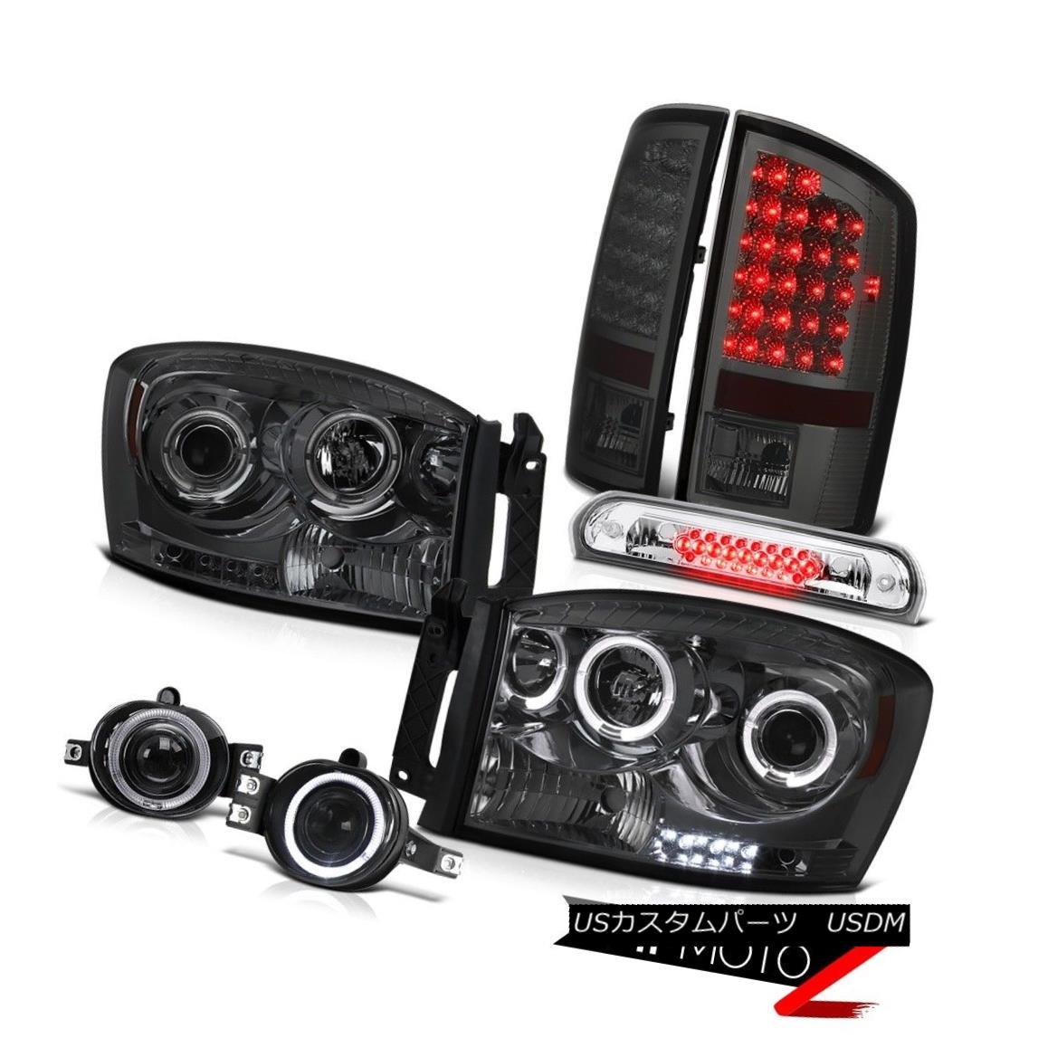 テールライト Halo Rim Headlights LED Brake Tail Lights Projector Fog 3rd 2006 Dodge Ram SLT Halo RimヘッドライトLEDブレーキテールライトプロジェクターフォグ3rd 2006 Dodge Ram SLT
