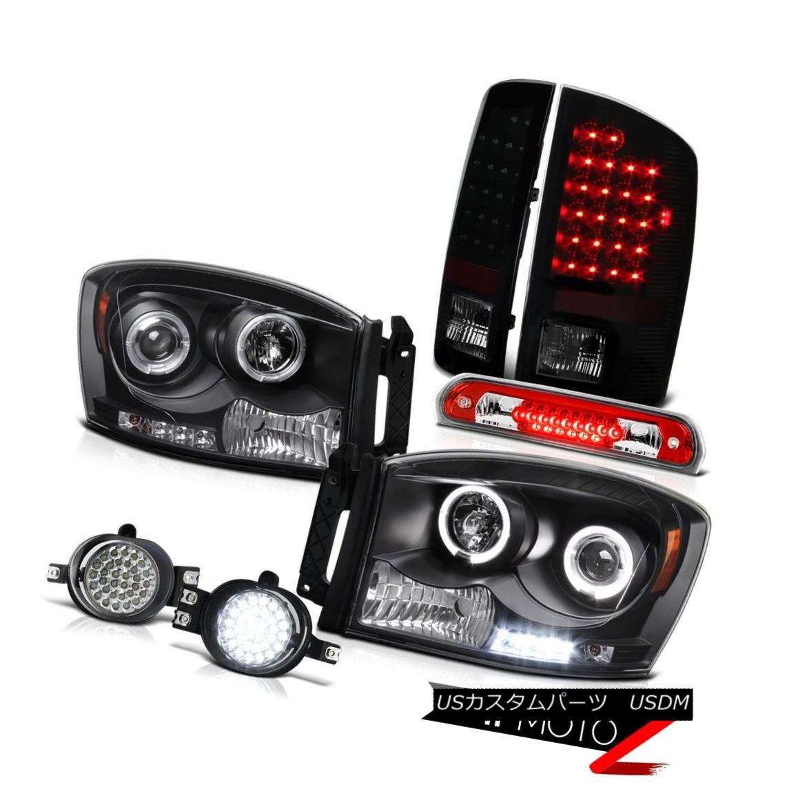 テールライト 2007 2008 Dodge Ram Headlights SMD Halo Smoke LED Tail Light Foglights 3rd Brake 2007年のDodge RamヘッドライトSMD Halo Smoke LEDテールライトFoglights 3rdブレーキ