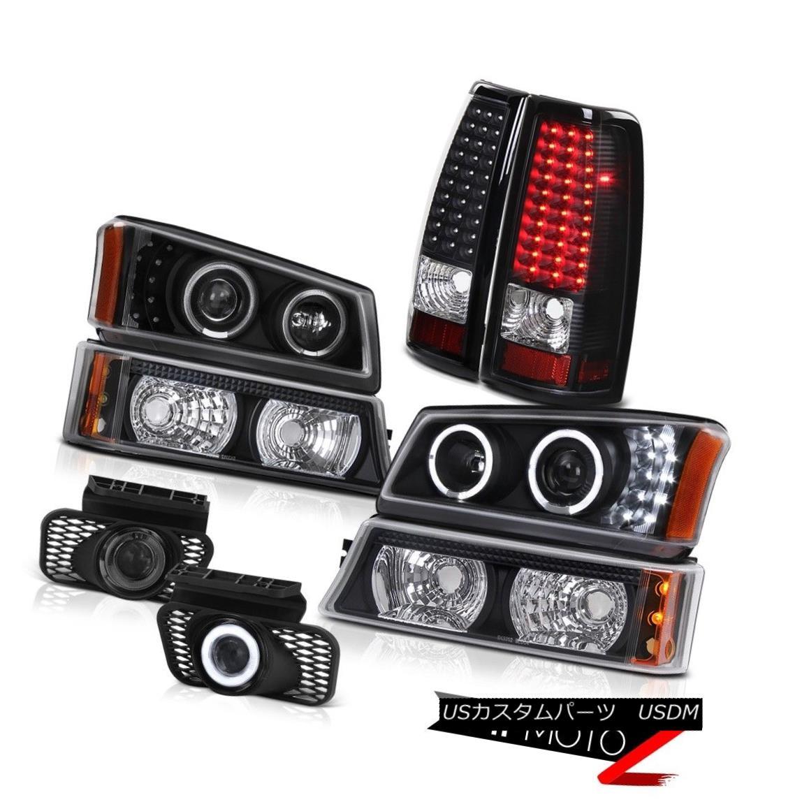 テールライト Twin Halo LED Front Bumper Parking Black Tail Lights DRL Foglamp 03 04 Silverado ツインハローLEDフロントバンパーパーキングブラックテールライトDRL Foglamp 03 04シルバラード